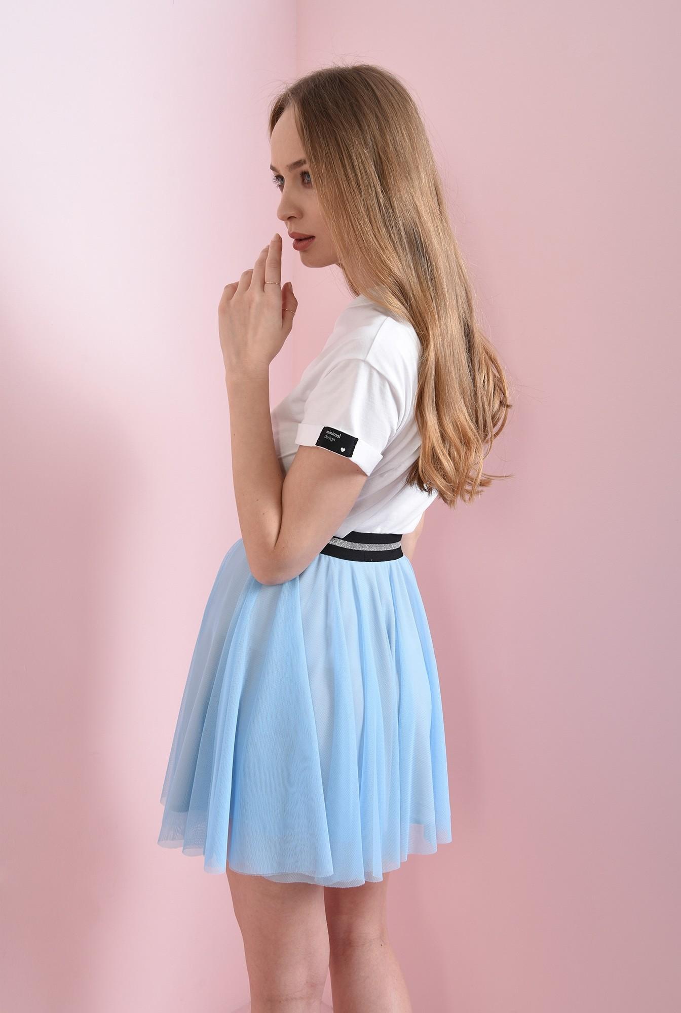 2 - fusta bleu, cu talie elastica, cu glitter