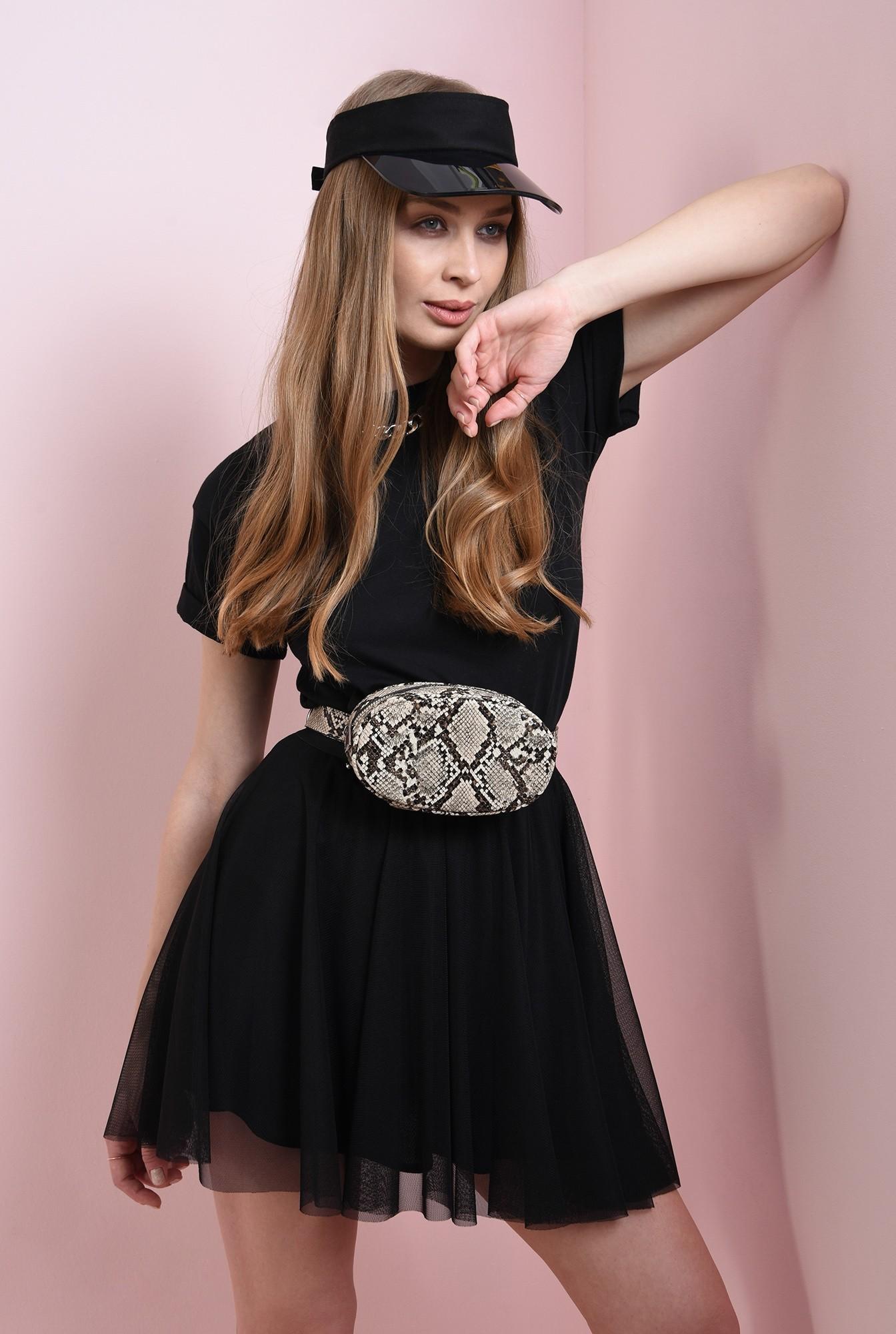 1 - fusta neagra, din tul, cu insertie glitter la talie