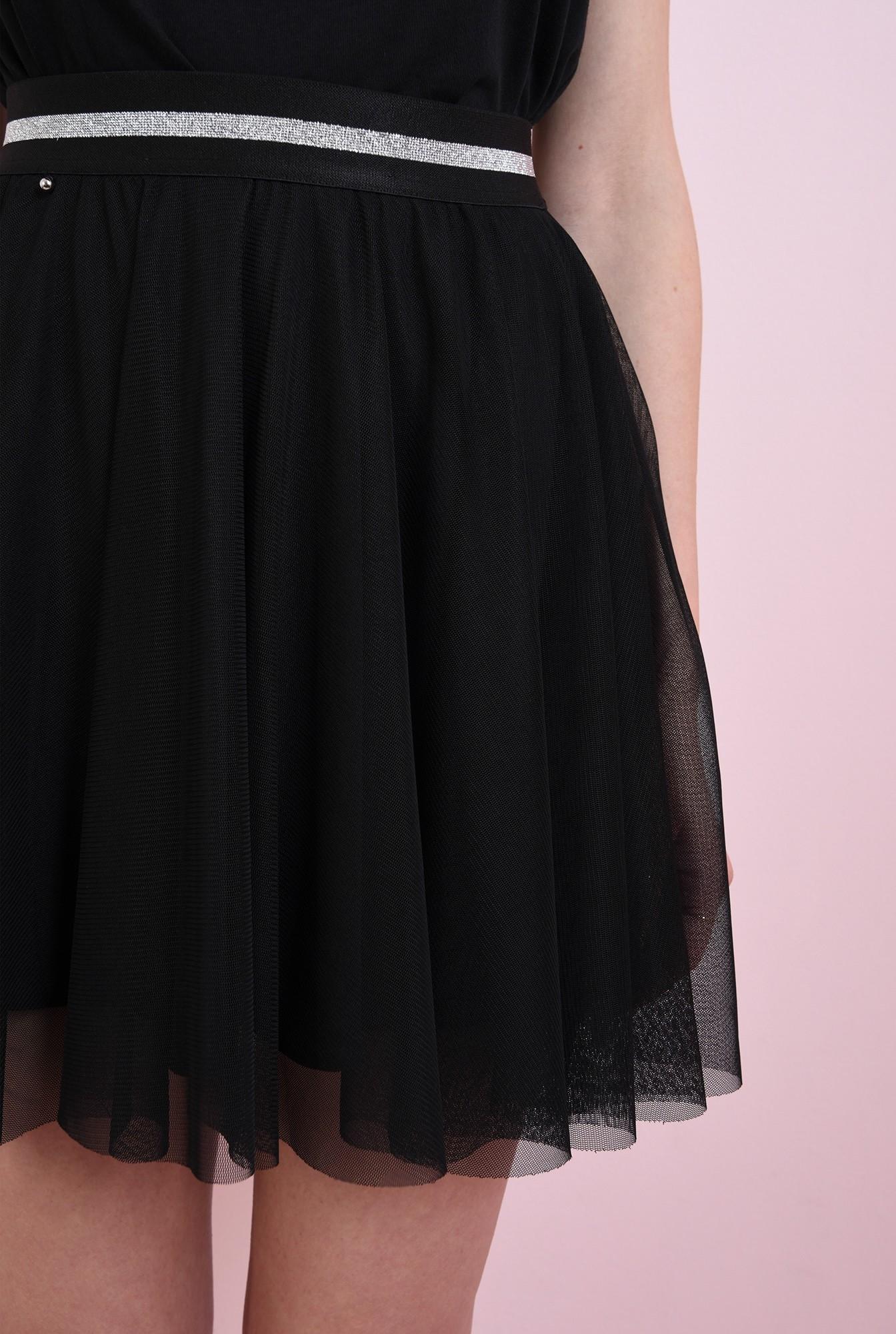2 - fusta neagra, din tul, cu insertie glitter la talie