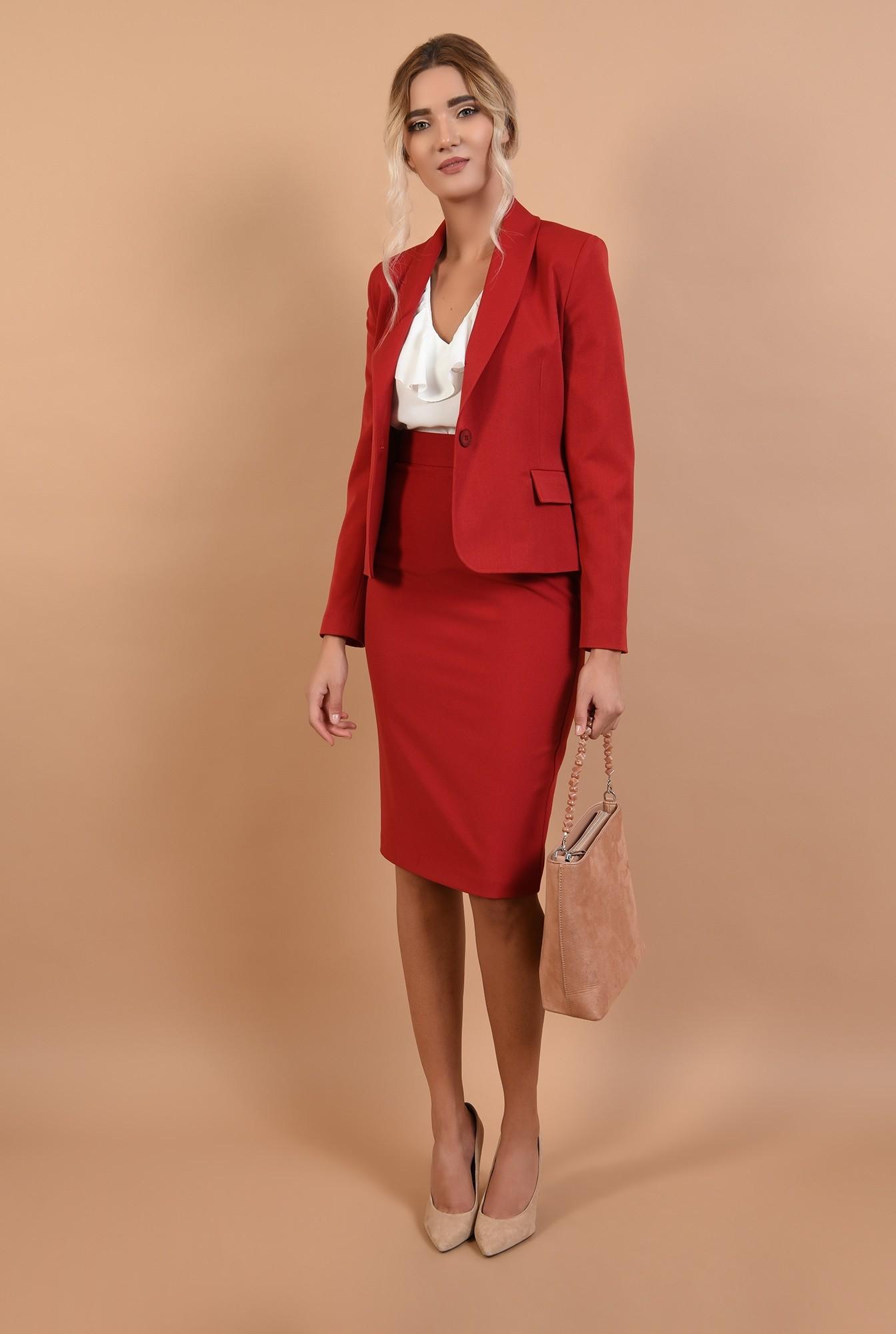 3 - fusta de zi, tigareta, cu betelie, fusta office, rosie