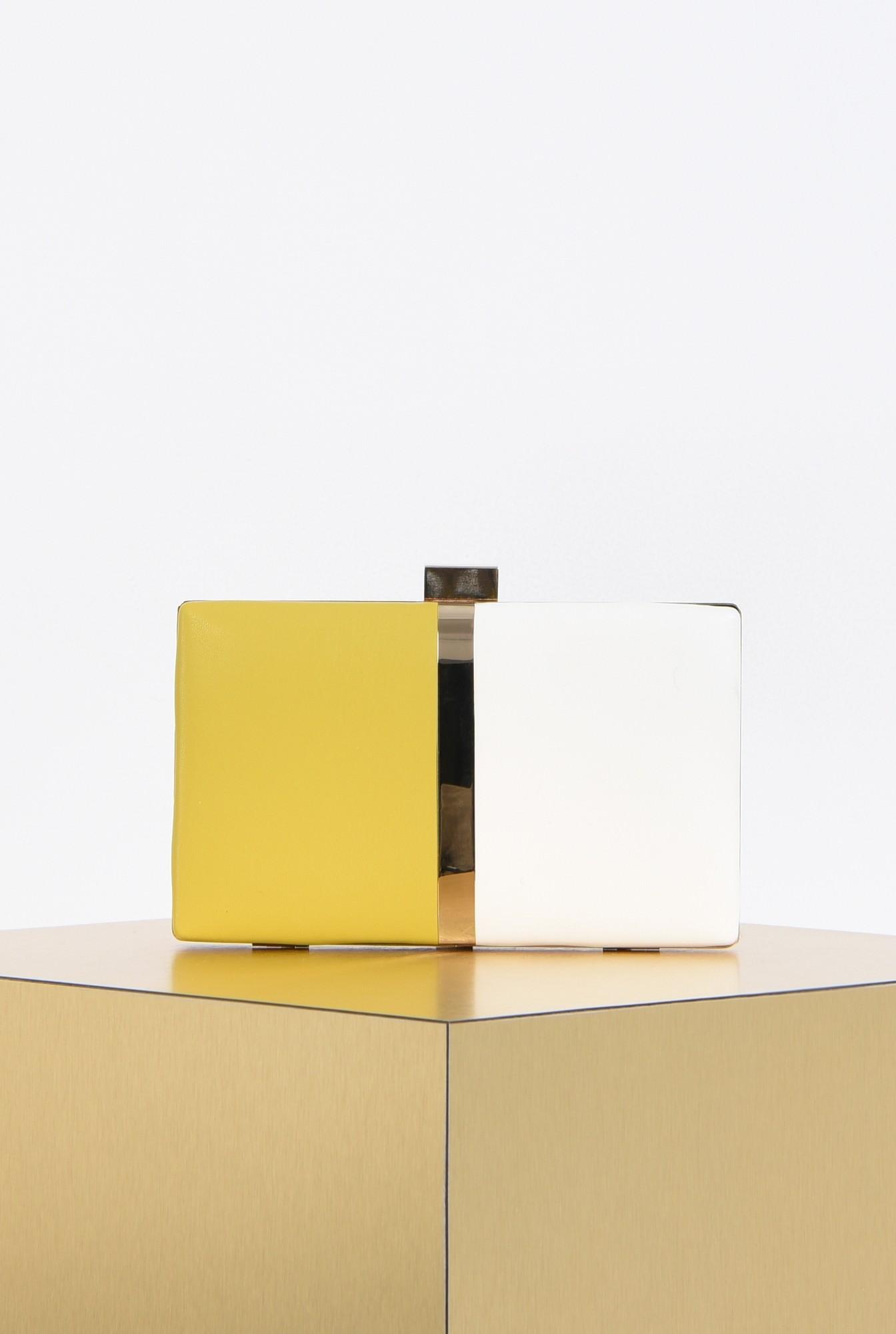 0 - plic elegant, bicolor, alb, mustar, accesorii