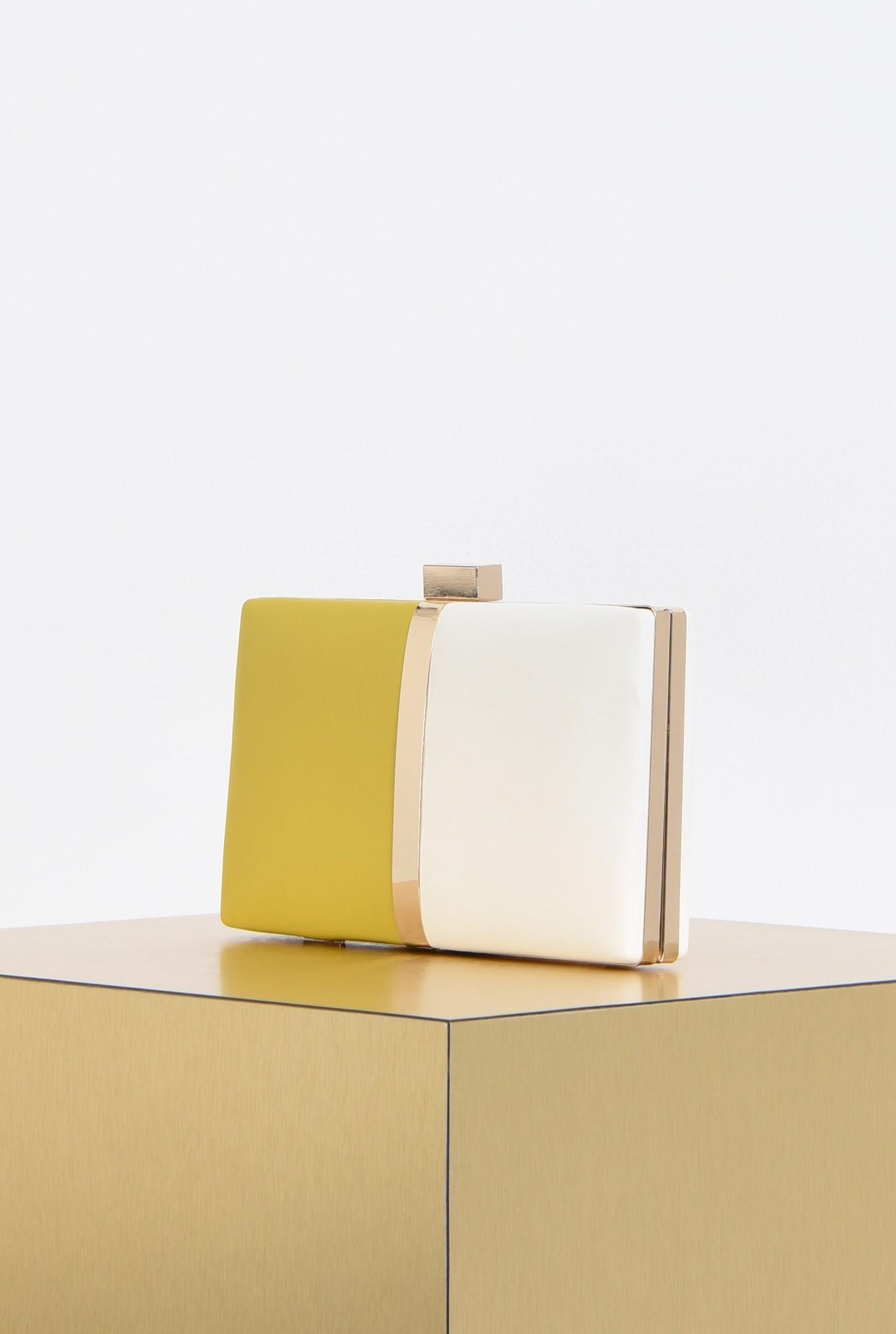 1 - plic elegant, bicolor, alb, mustar, accesorii