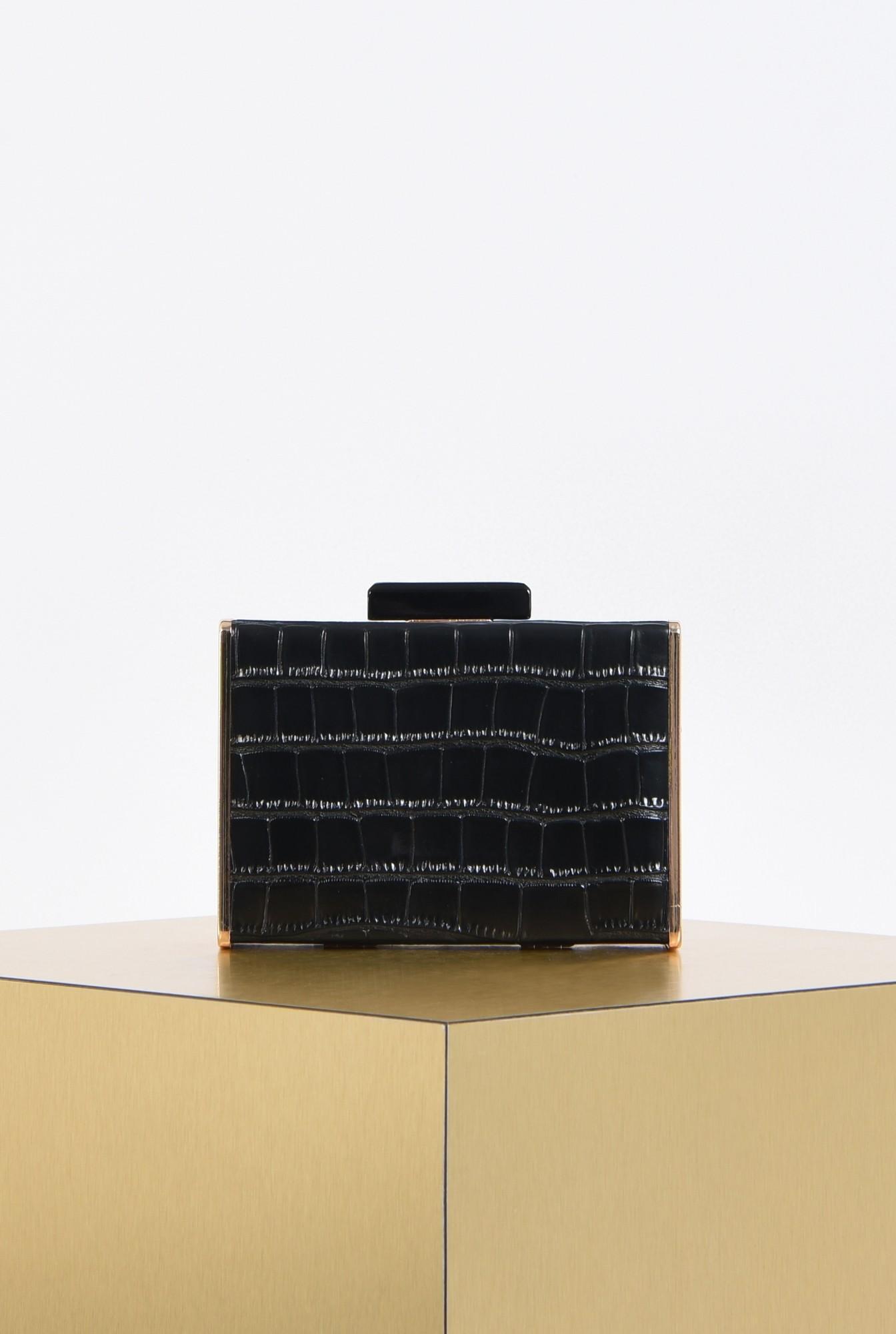 0 - clutch elegant, negru, auriu, accesorii