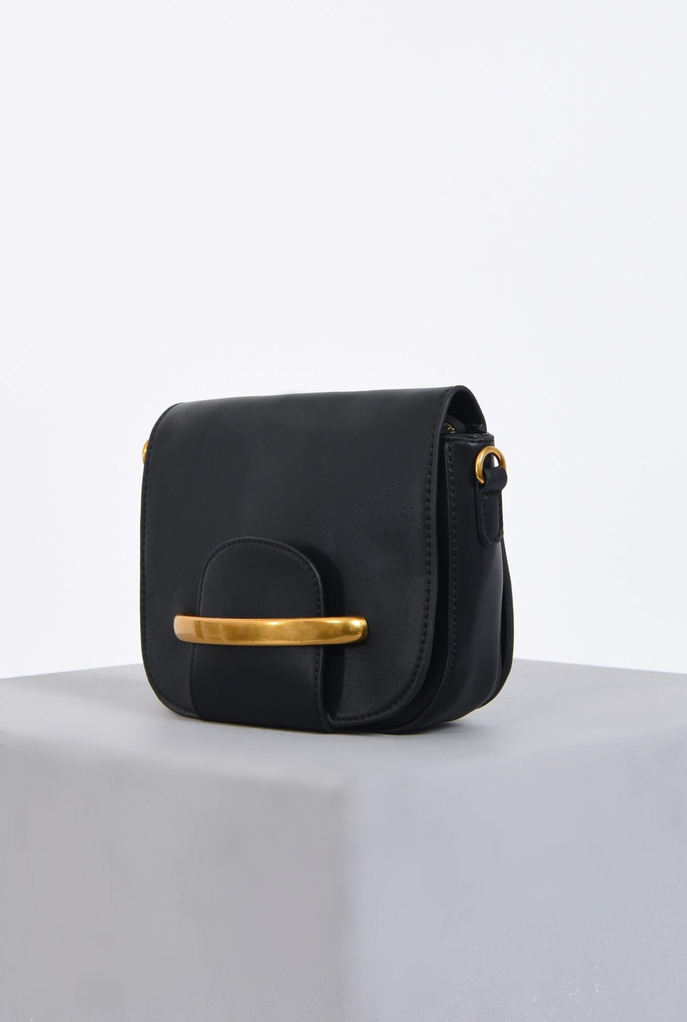 1 - geanta casual, negru, auriu, bareta, detasabila