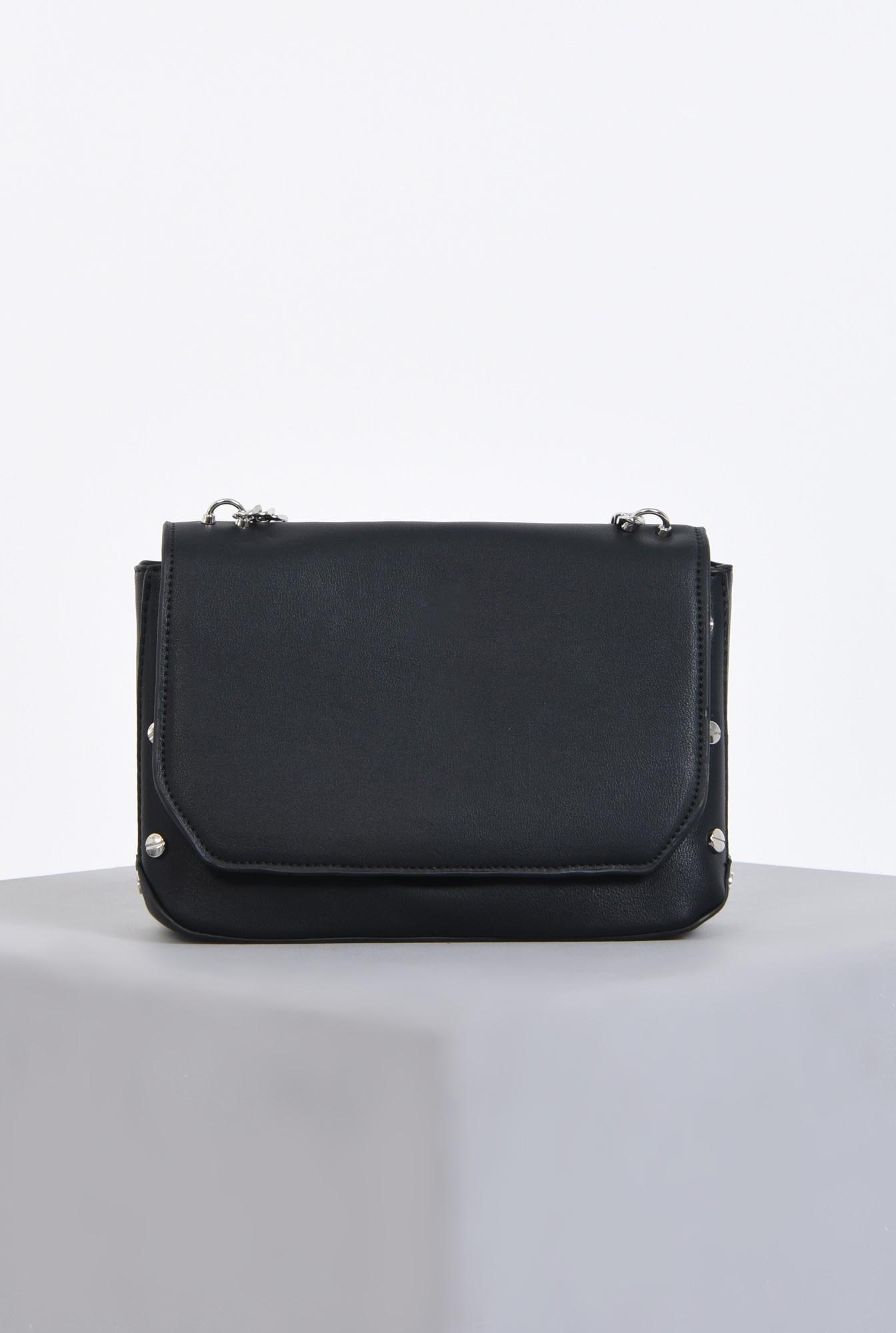 0 - geanta casual, negru, lant, argintiu