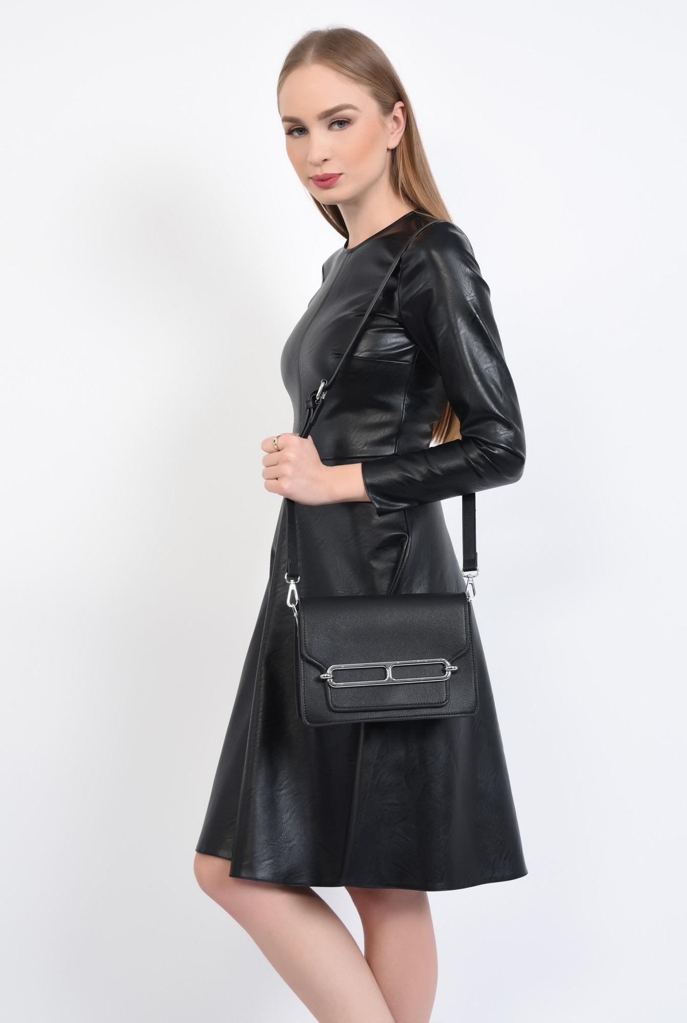 3 - geanta casual, negru, bareta detasabila