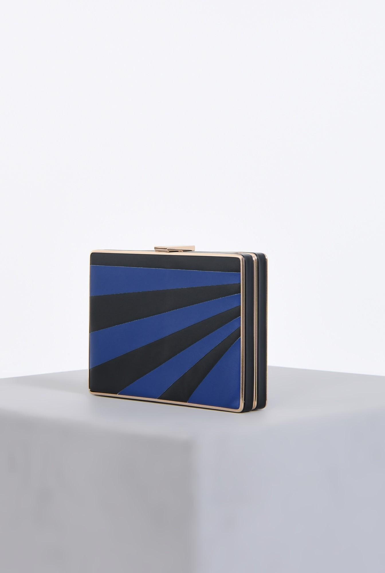 1 - plic dama, dungi, negru, albastru, lant detasabil