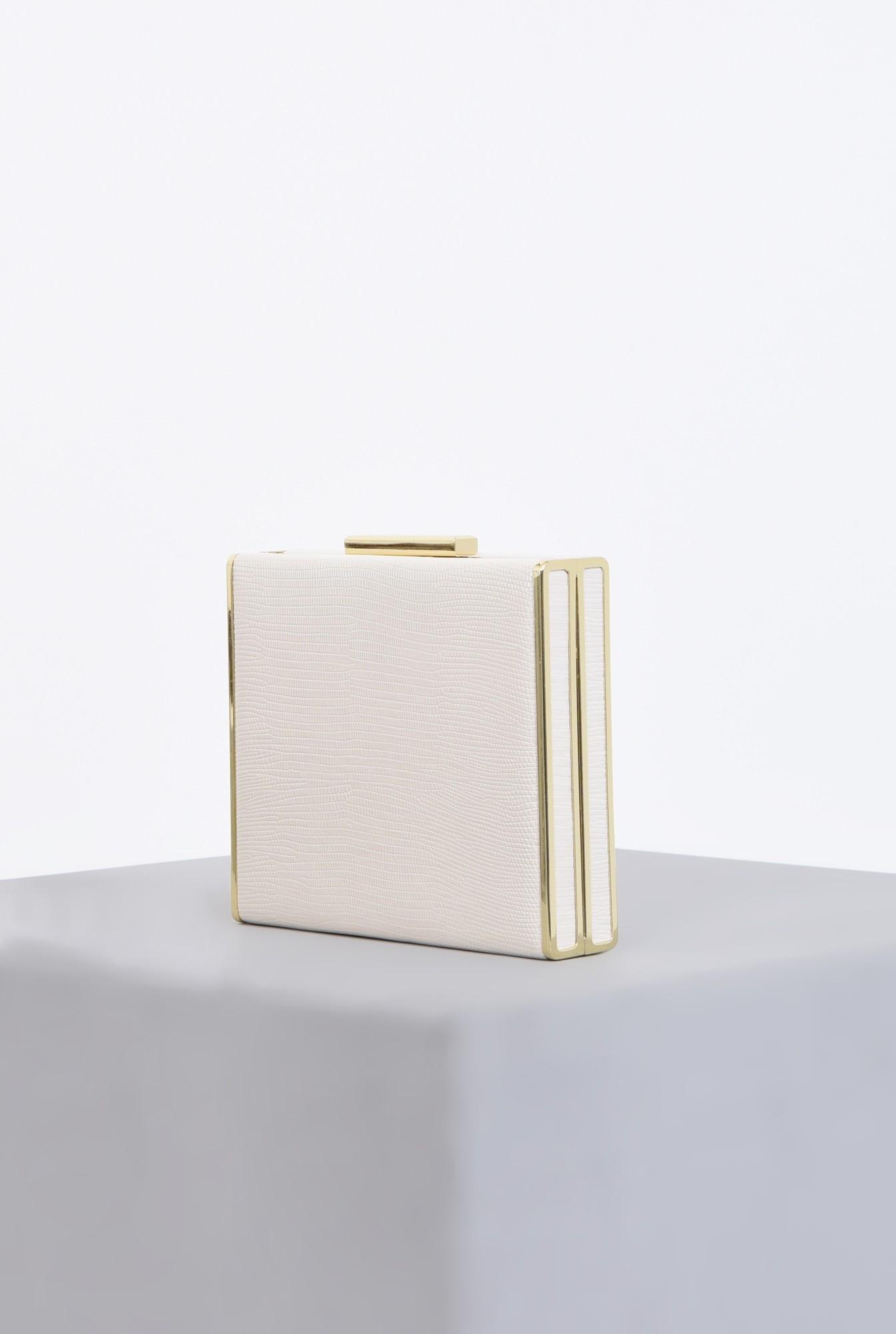 1 - clutch alb, auriu, accesorii, lant