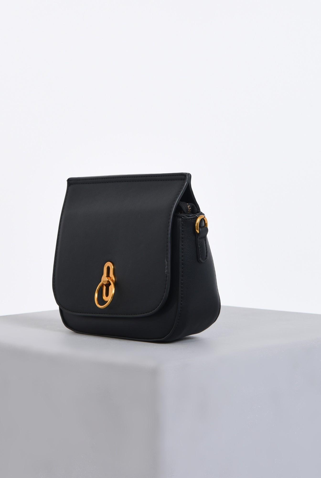 1 - geanta casual, mini, bareta detasabila, negru