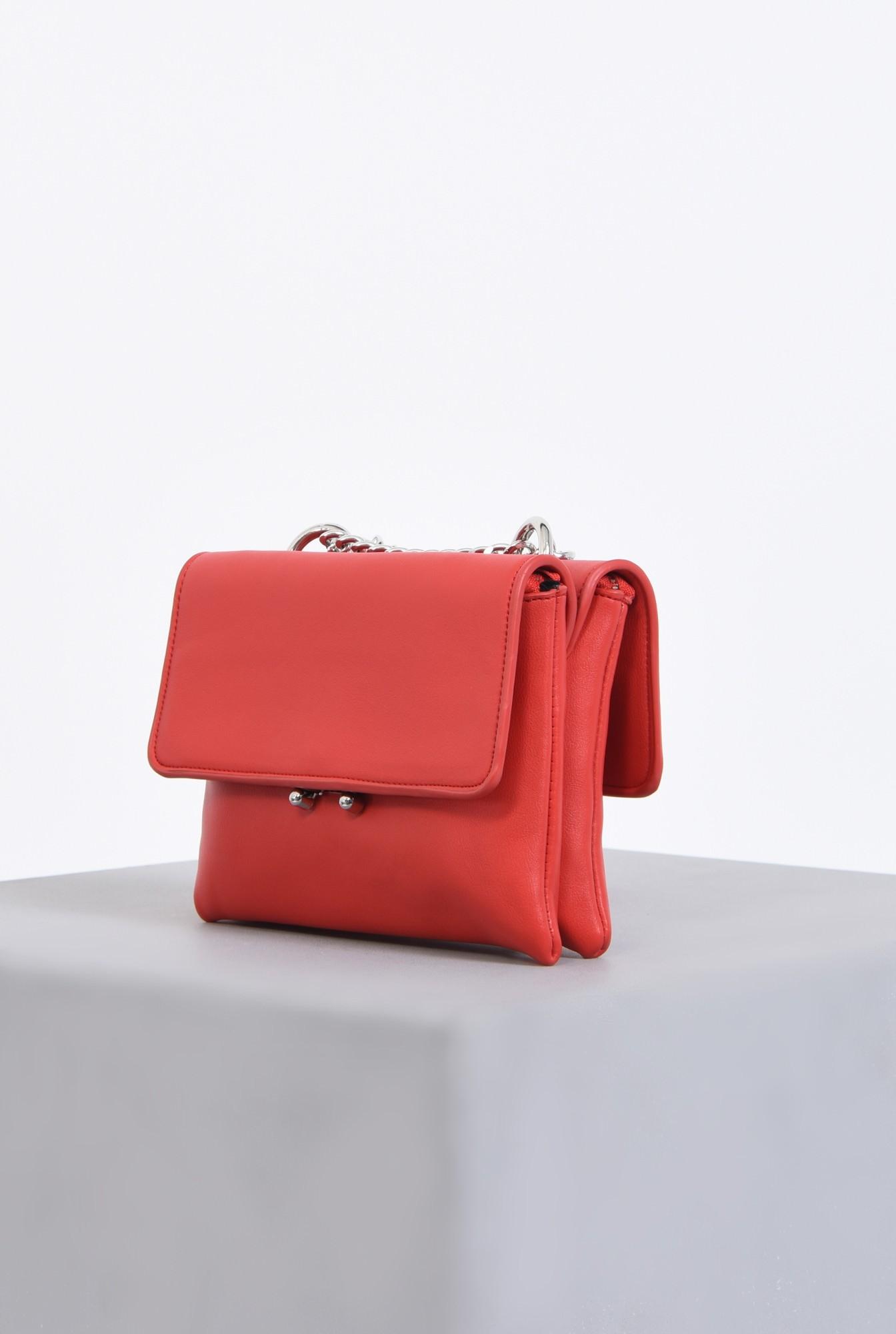 1 - geanta casual, mini, rosu, lant