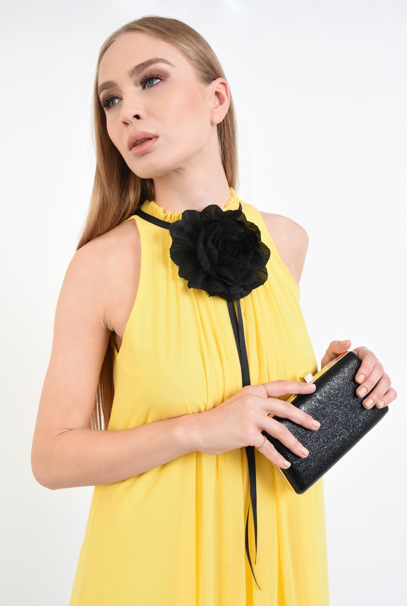 2 - plic elegant, negru, mini, grofrat, lant auriu