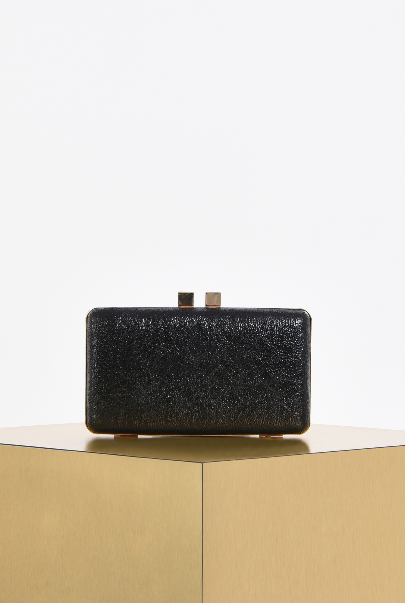0 - plic elegant, negru, mini, grofrat, lant auriu