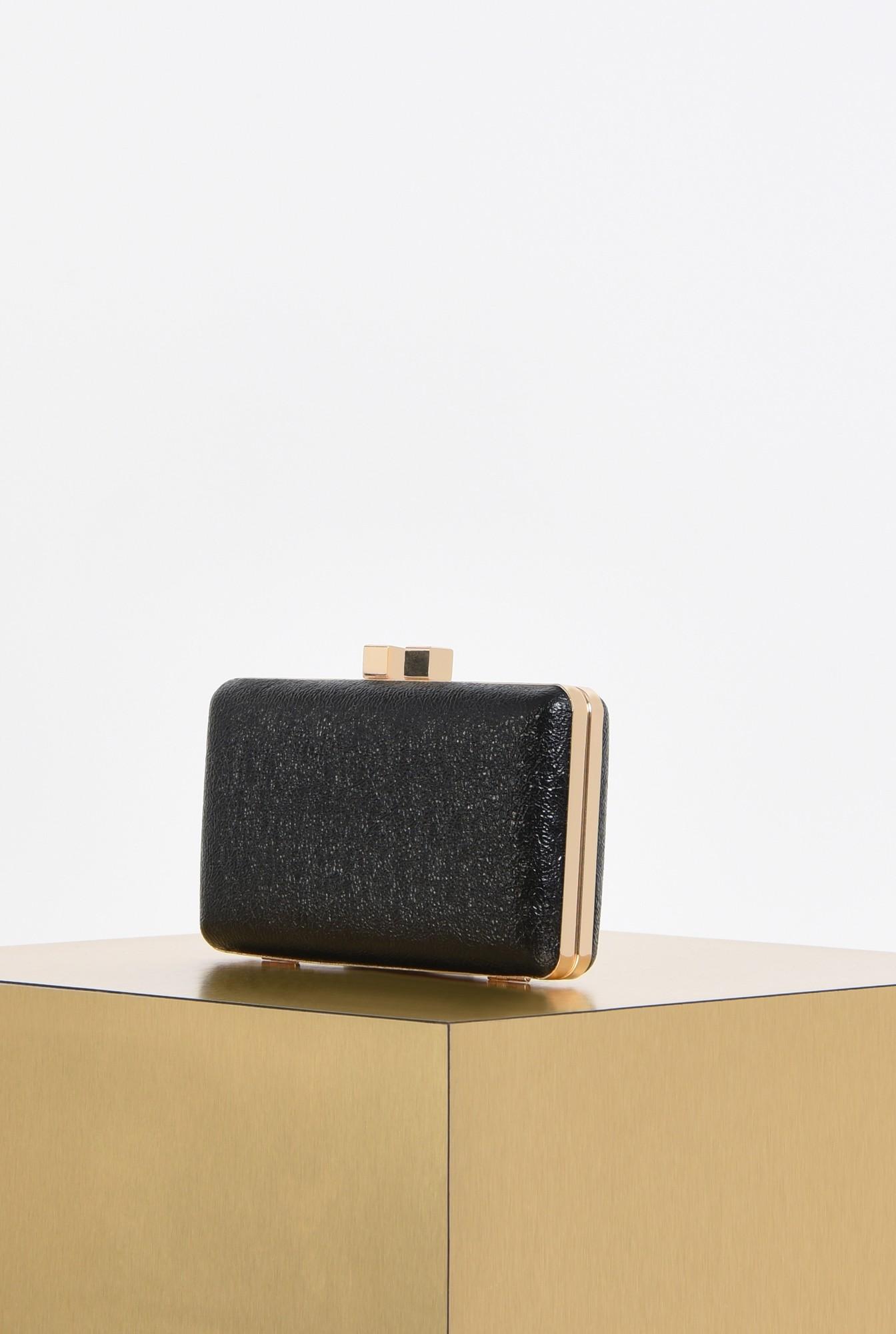 1 - plic elegant, negru, mini, grofrat, lant auriu