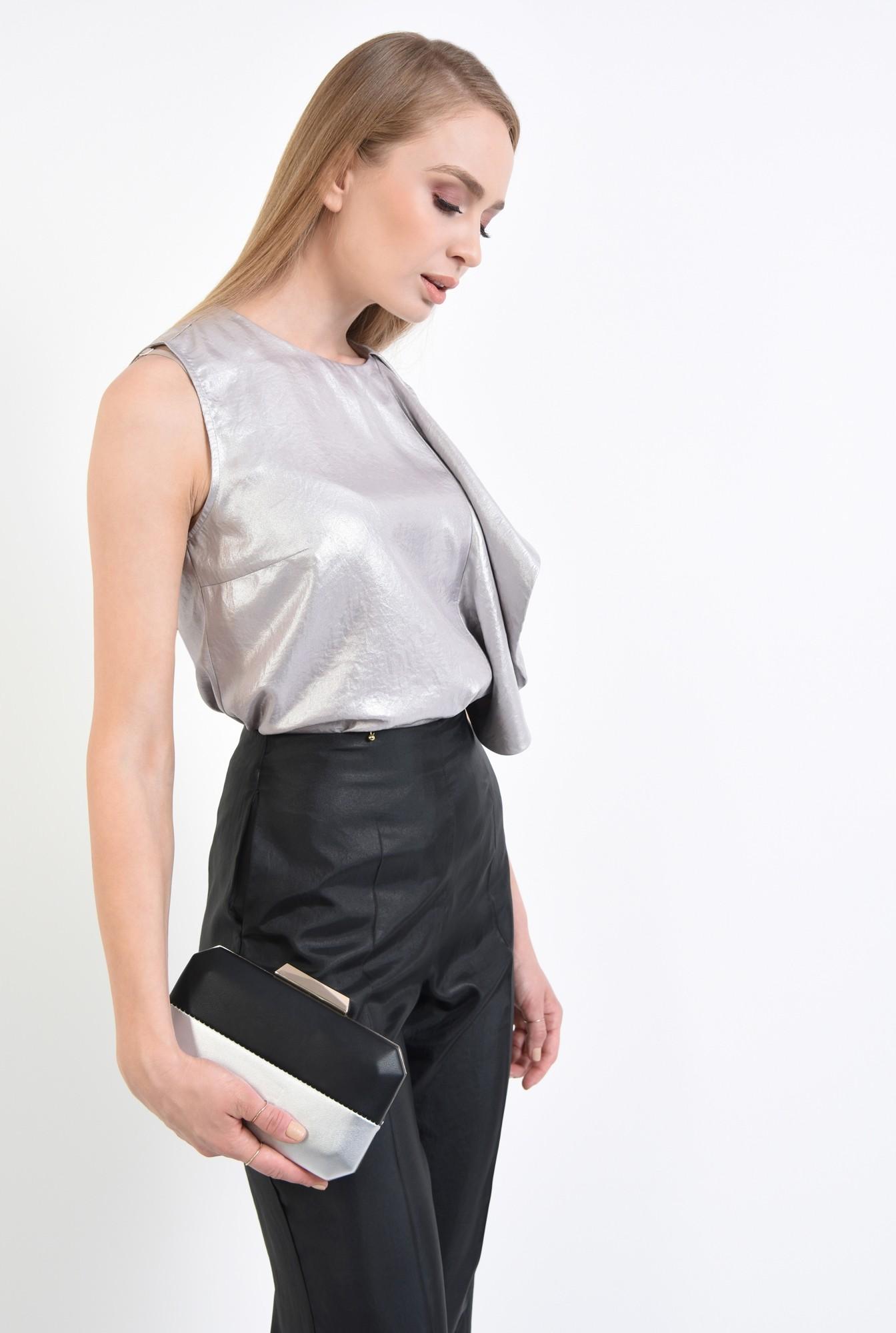 2 - plic bicolor, negru, argintiu, lant detasabil