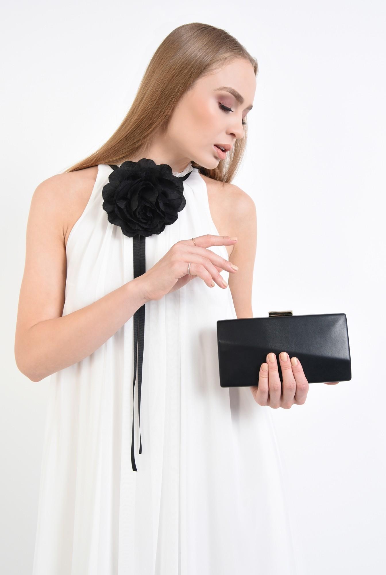 2 - plic elegant, negru, piele eco, lant detasabil