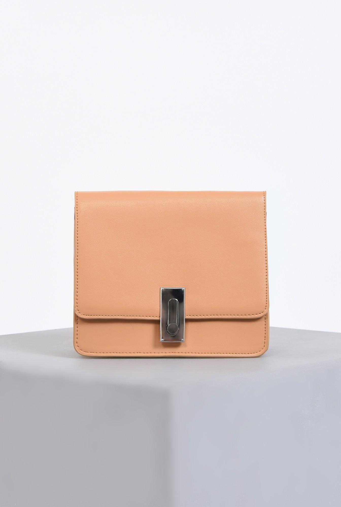 0 - geanta casual, crem, piele ecologica