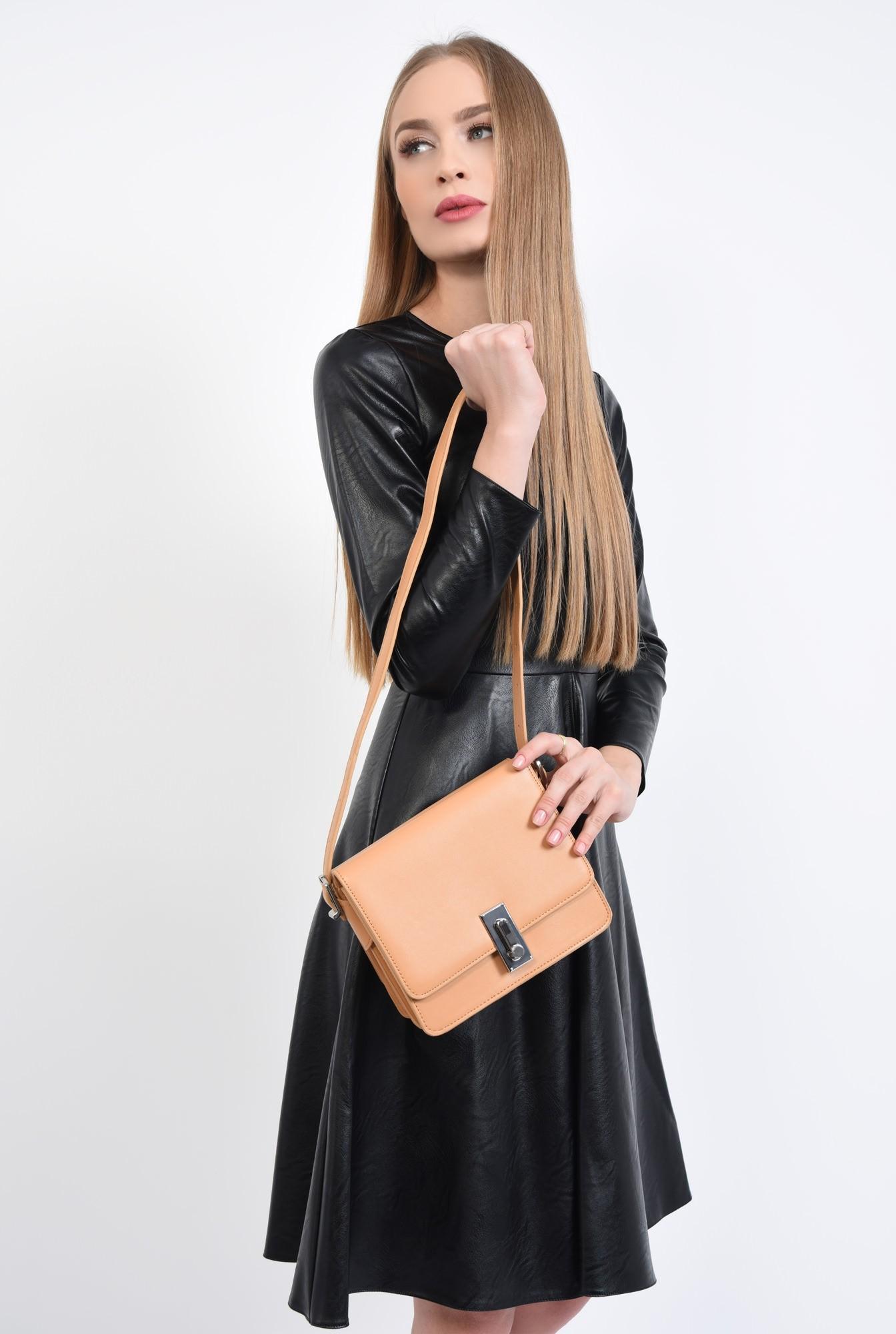 3 - geanta casual, crem, piele ecologica