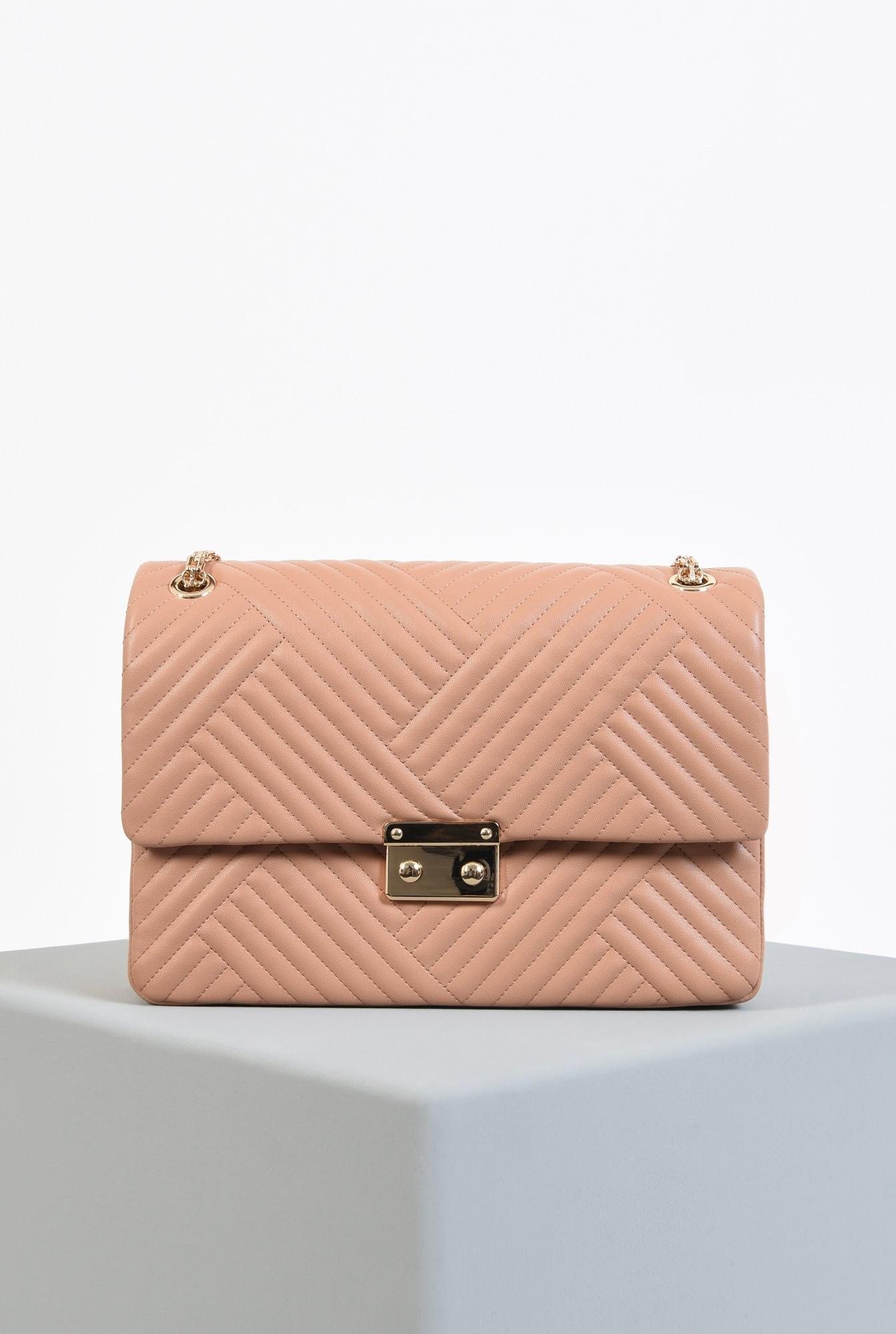 0 - geanta din piele ecologica, roz nude, cu lant, detalii metalice aurii, geanta de umar