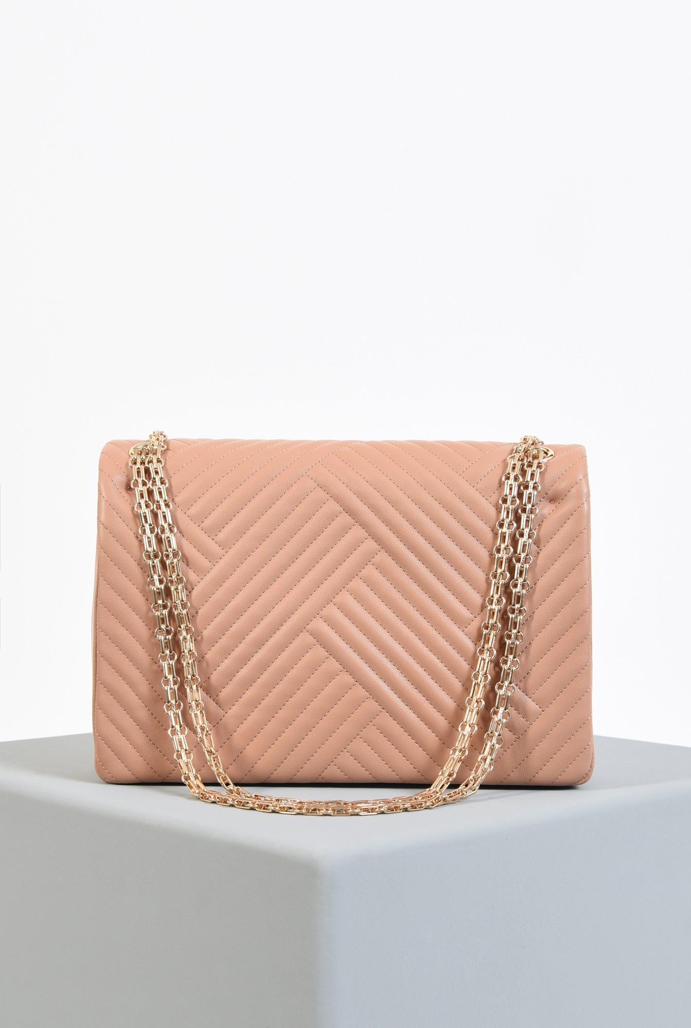 2 - geanta din piele ecologica, roz nude, cu lant, detalii metalice aurii, geanta de umar