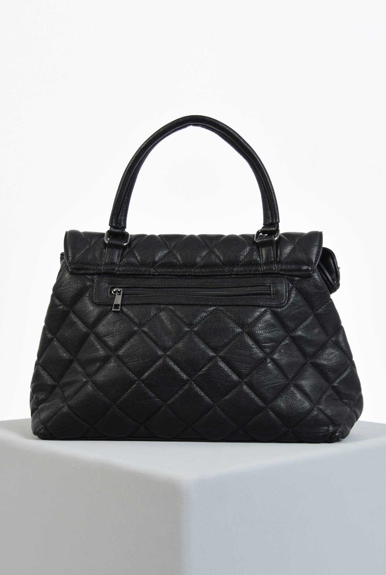 2 - geanta de mana, neagra, dimensiune mare, matlasata in V