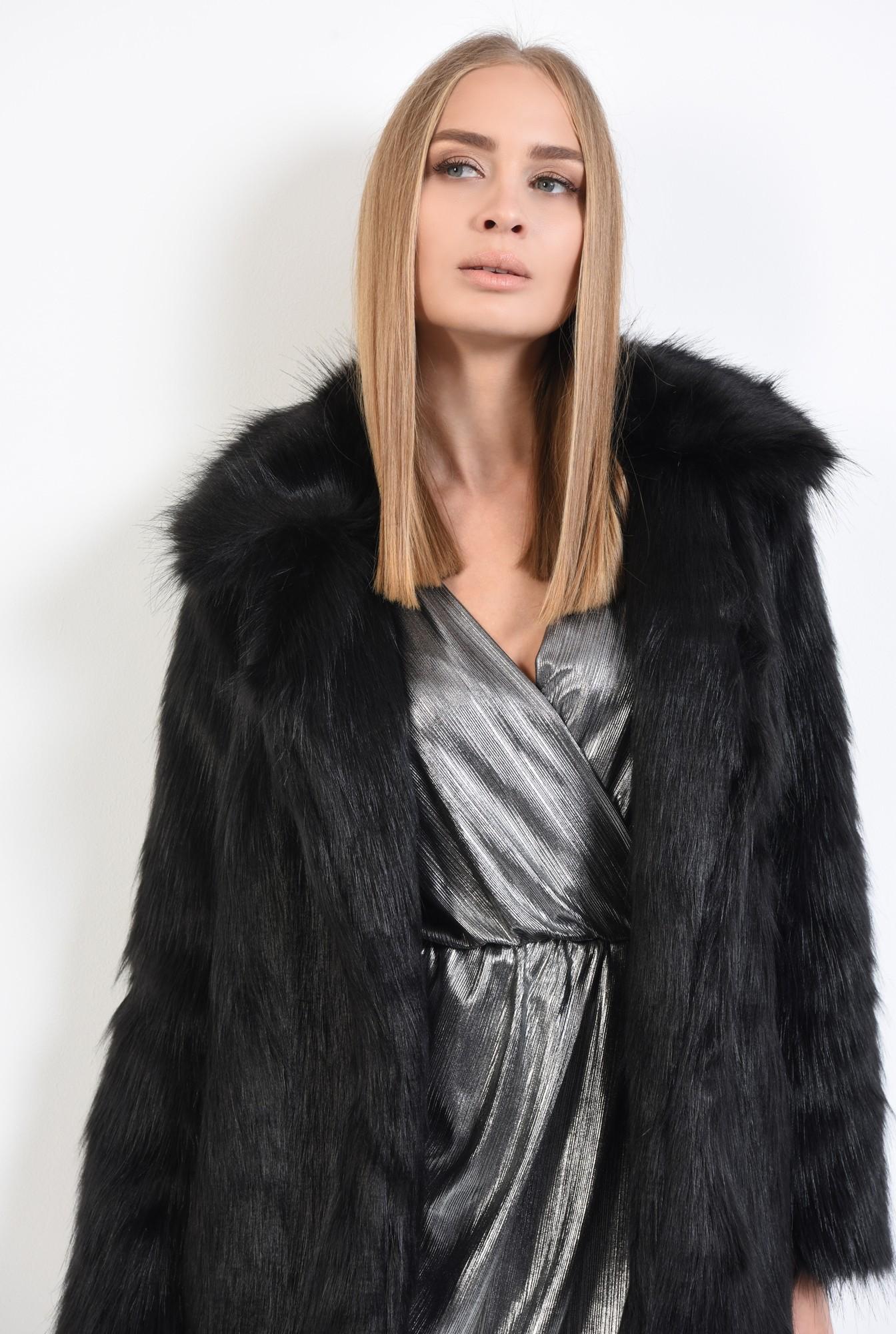2 - jacheta din blana artificiala, croi drept, jacheta dama, haina blana online