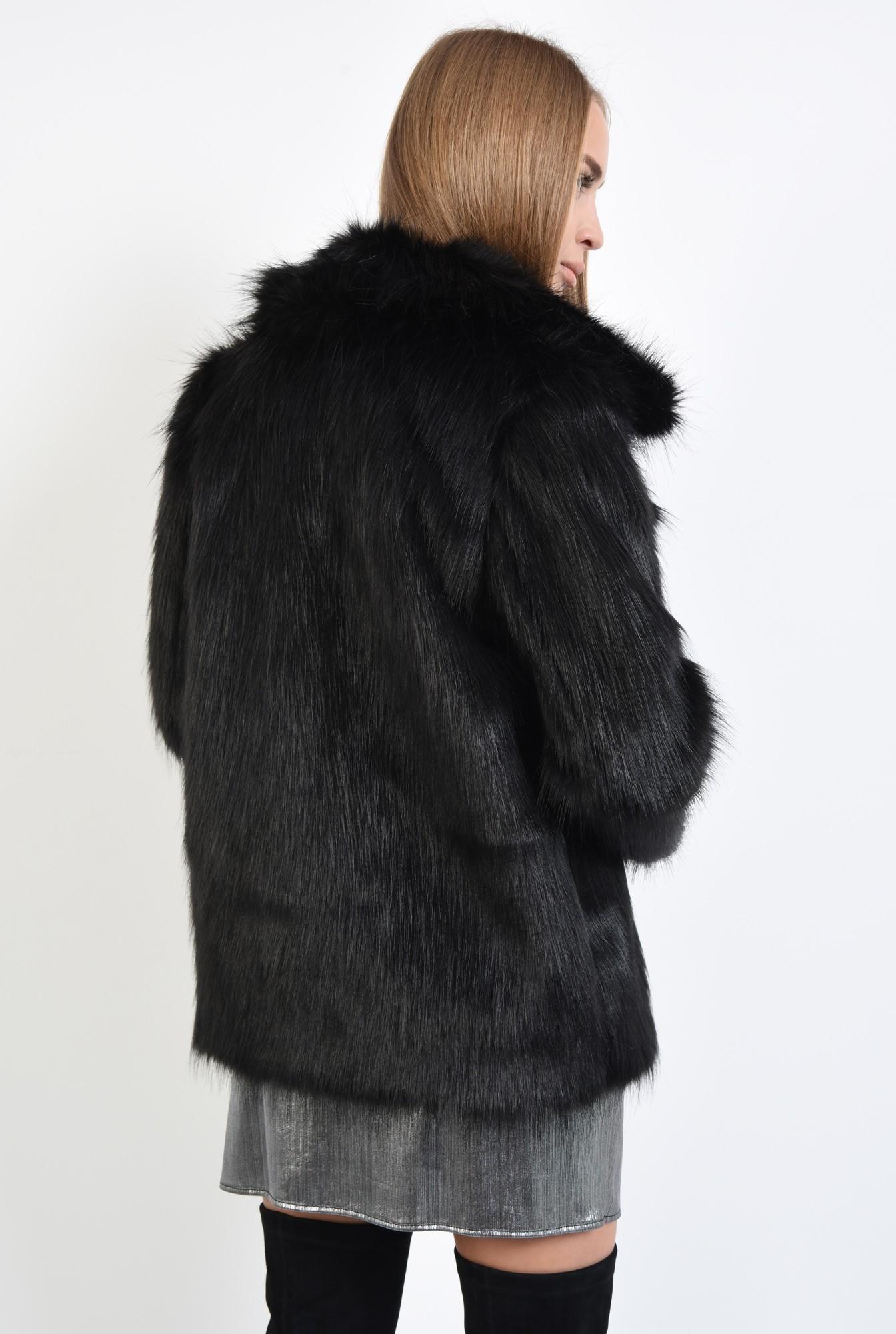 1 - jacheta din blana artificiala, croi drept, jacheta dama, haina blana online