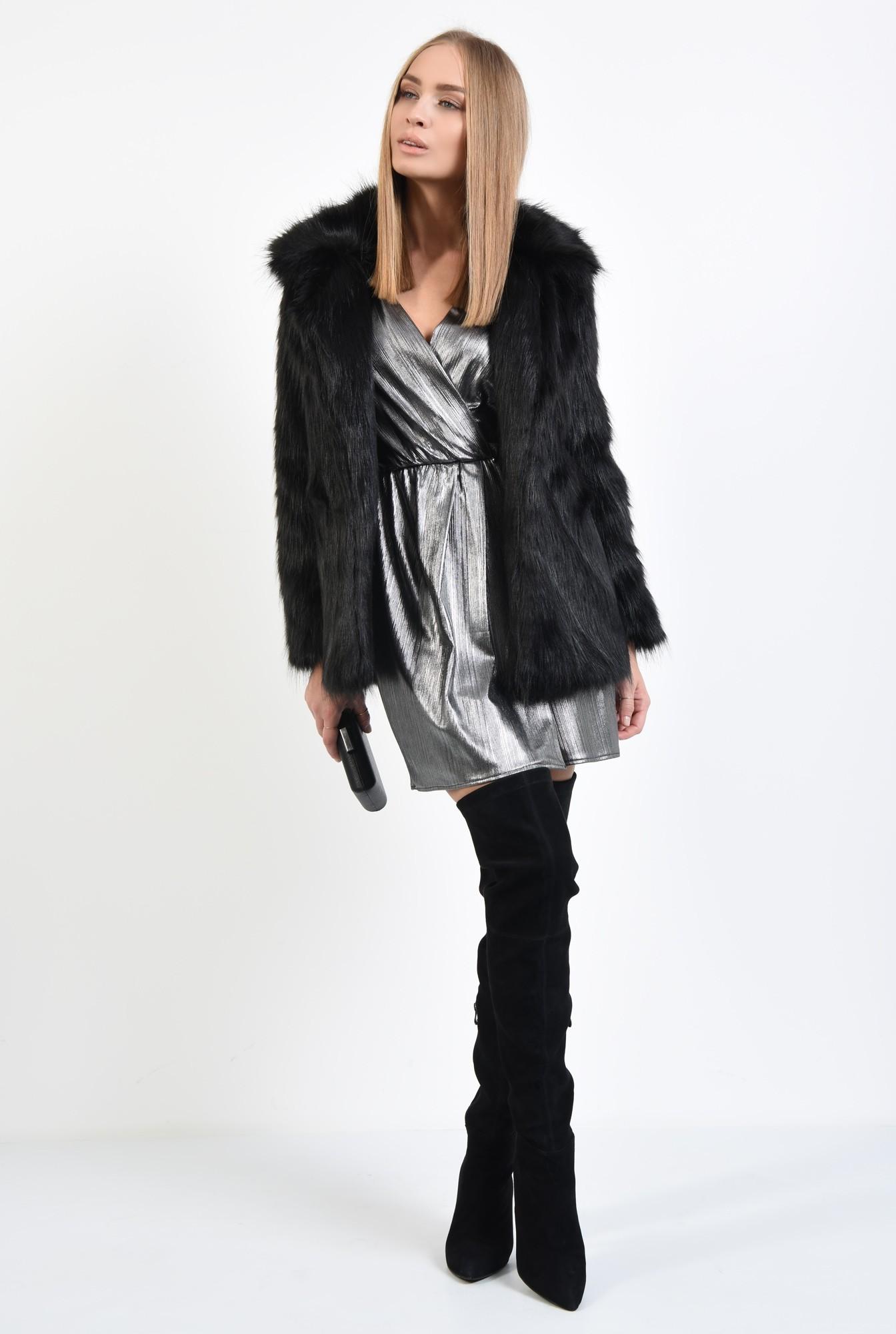 3 - jacheta din blana artificiala, croi drept, jacheta dama, haina blana online