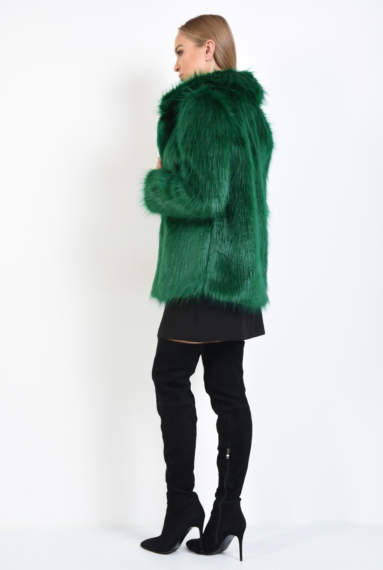 1 - haina din blana ecologica, dreapta, guler cu revere, verde