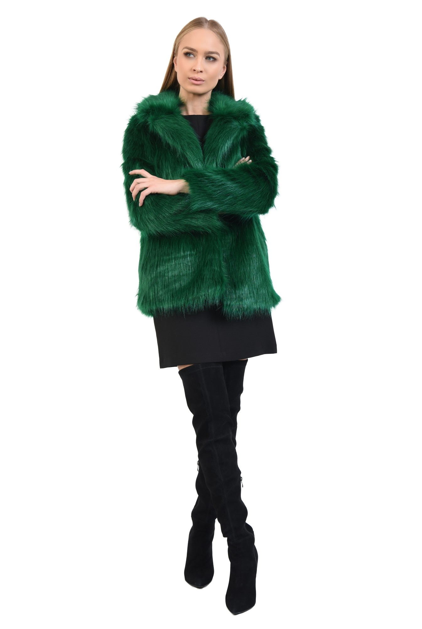 0 - haina din blana ecologica, dreapta, guler cu revere, verde