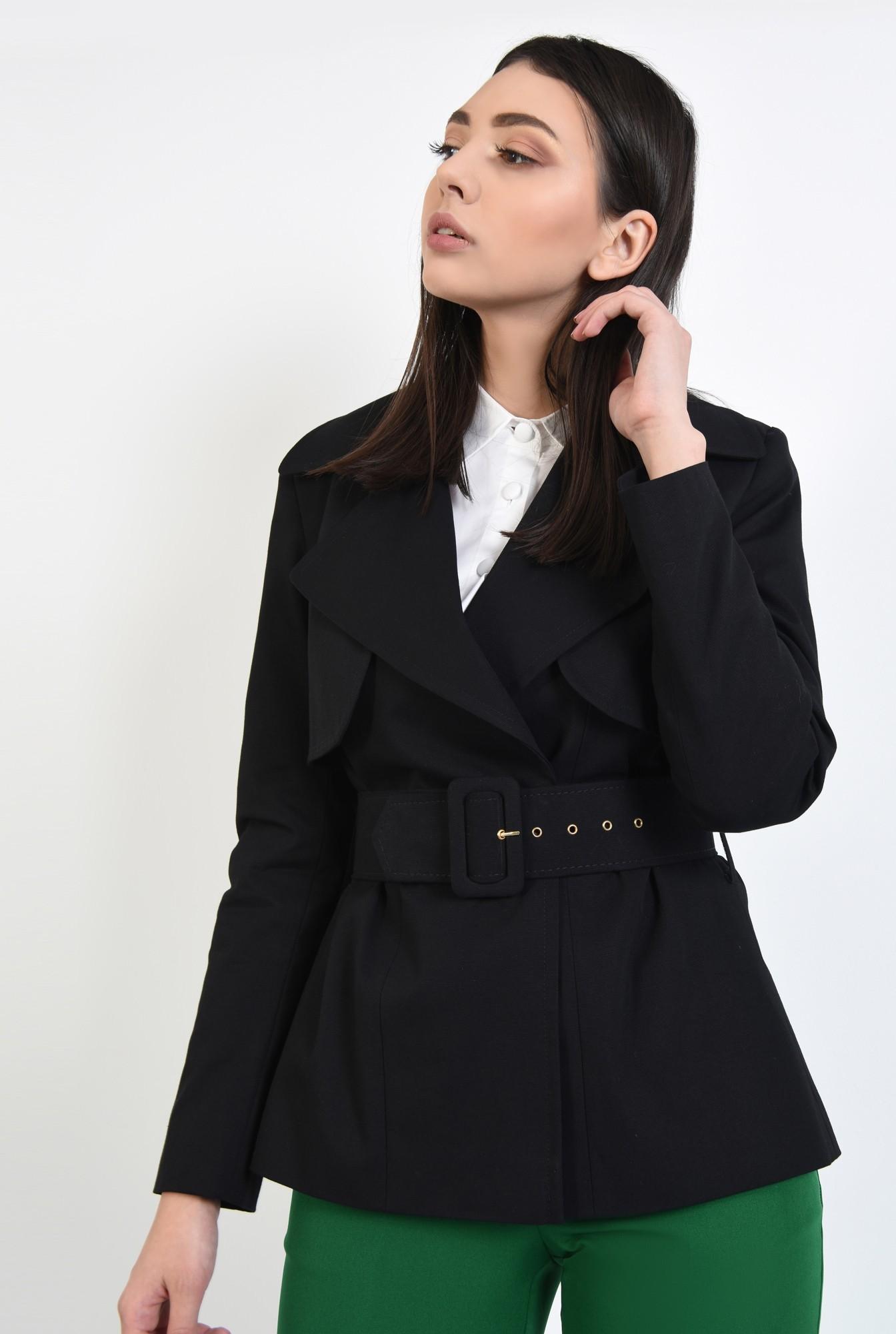2 - jacheta neagra, scurta, cu centura, cu revere, Poema