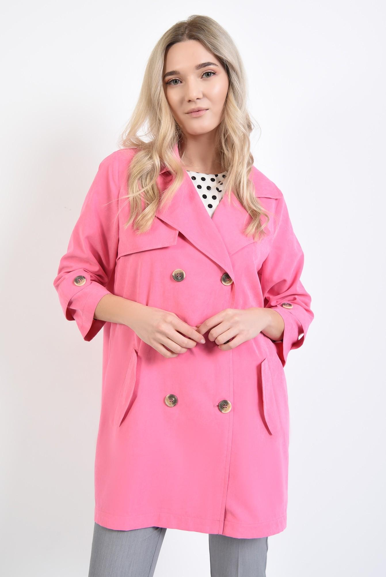 2 - jacheta roz, cu nasturi, cu revere, croi relaxat