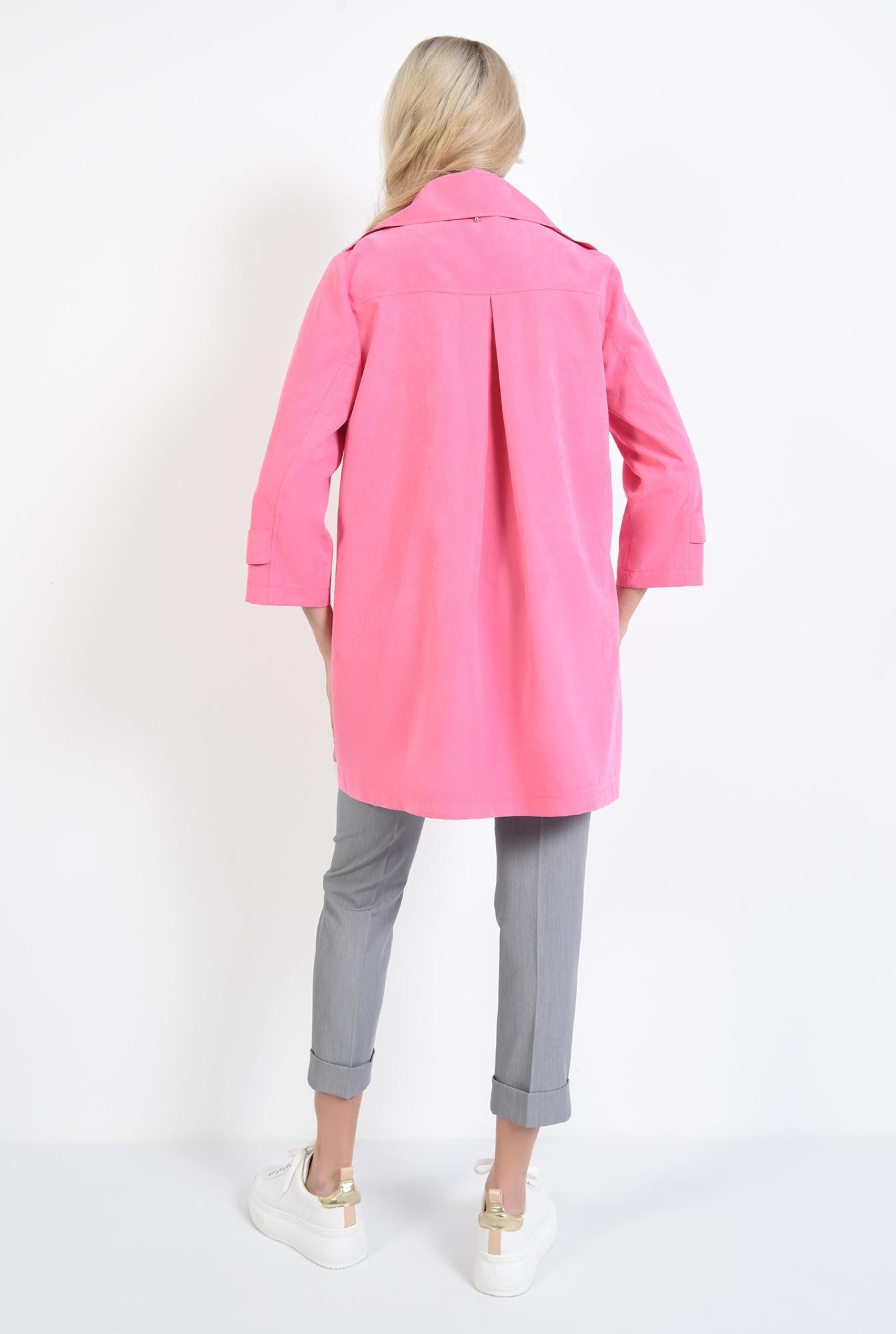 1 - jacheta roz, cu nasturi, cu revere, croi relaxat