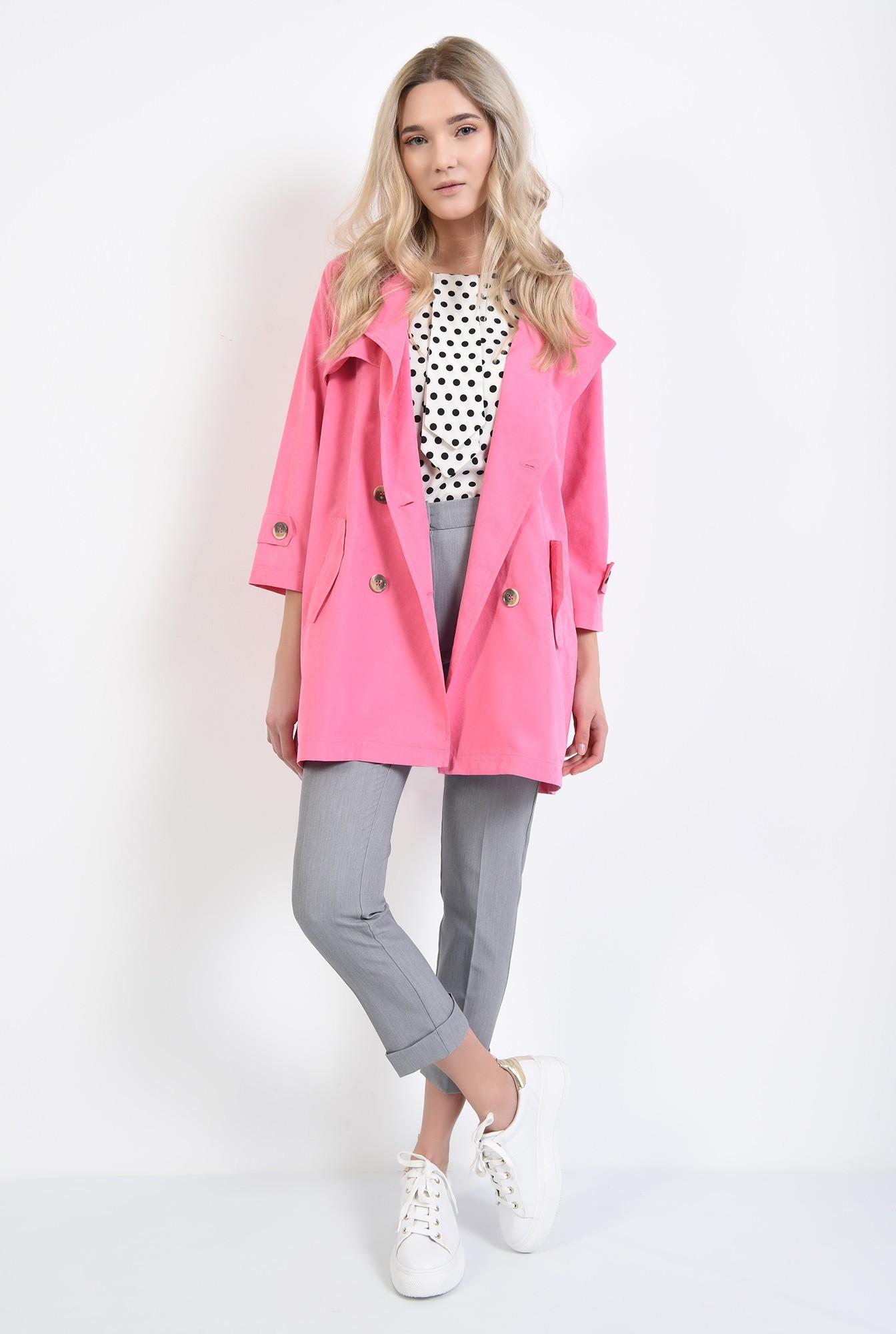 3 - jacheta roz, cu nasturi, cu revere, croi relaxat