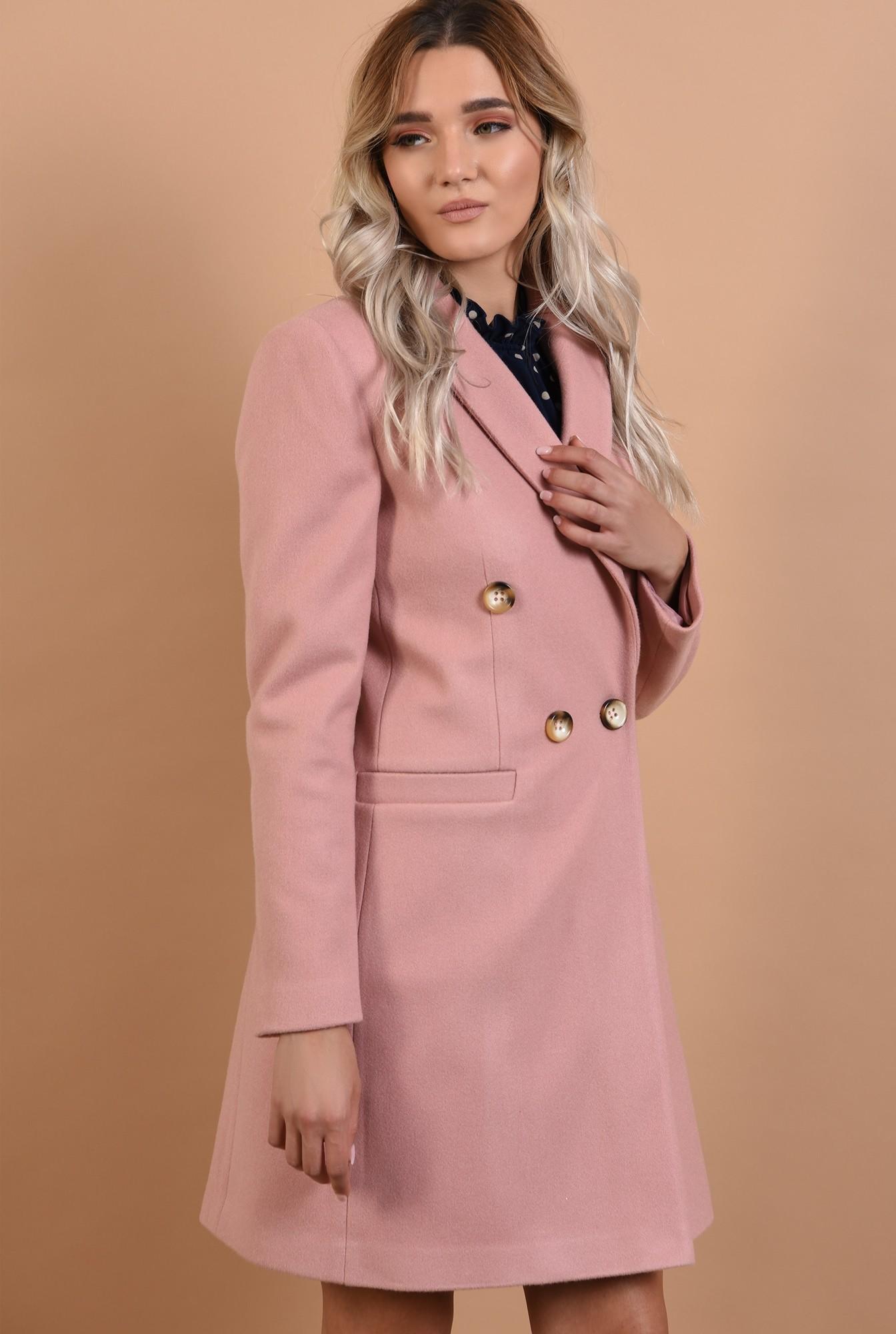 0 - palton roz, cu nasturi decorativi, revere crestate, Poema