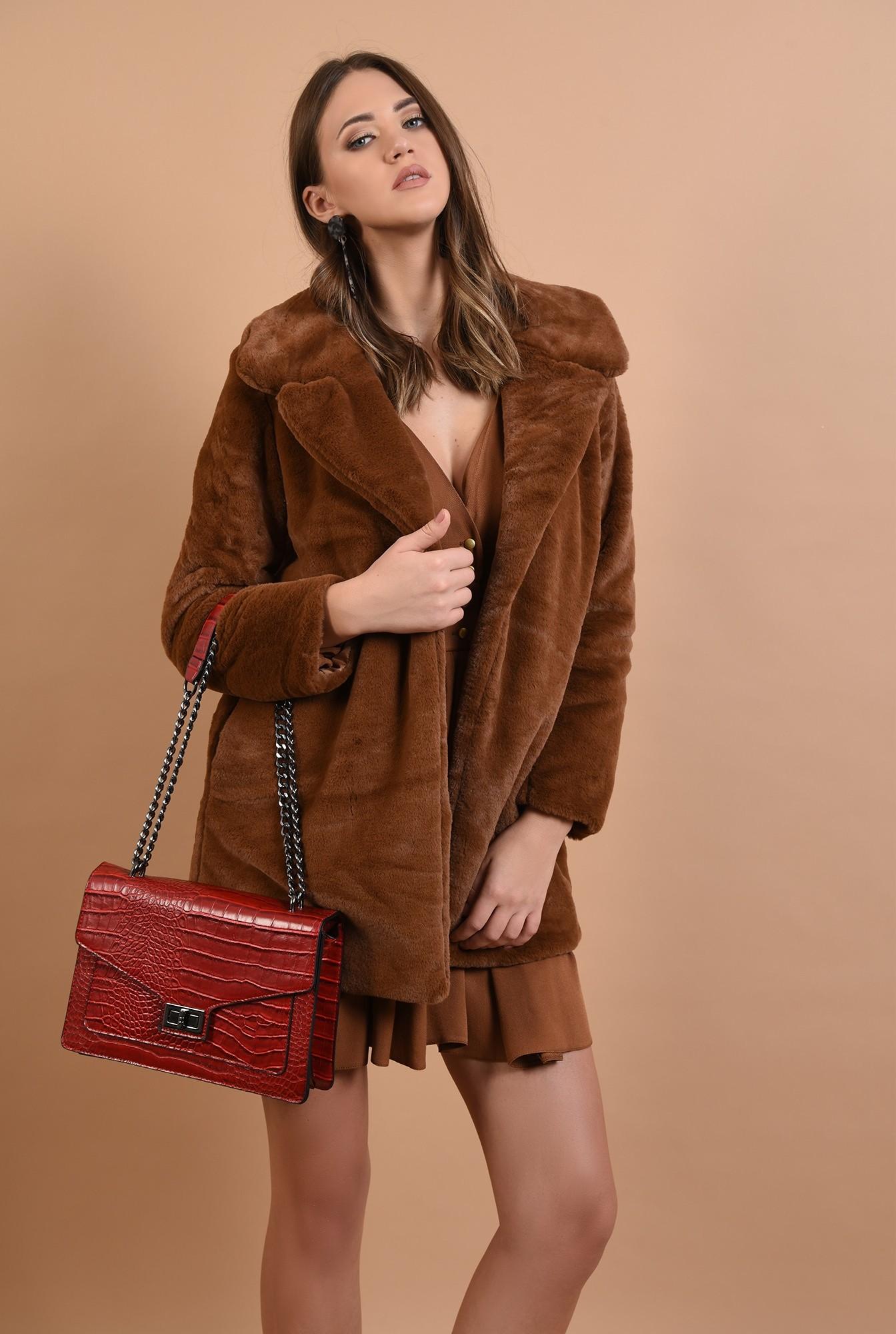 0 - 360 - jacheta din blana, camel, croi drept, revere