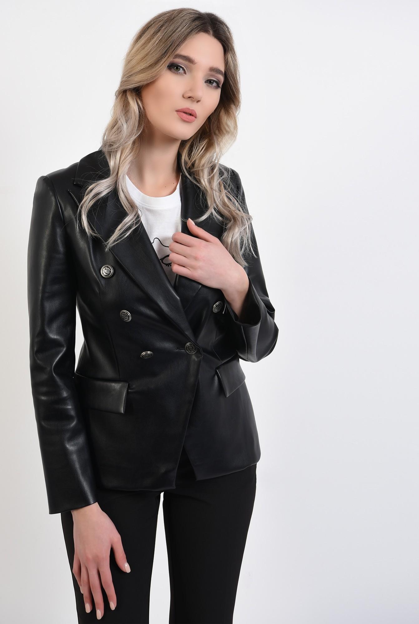 0 -  360 - jacheta casual, din piele ecologica, cu clapa, cu nasturi, revere