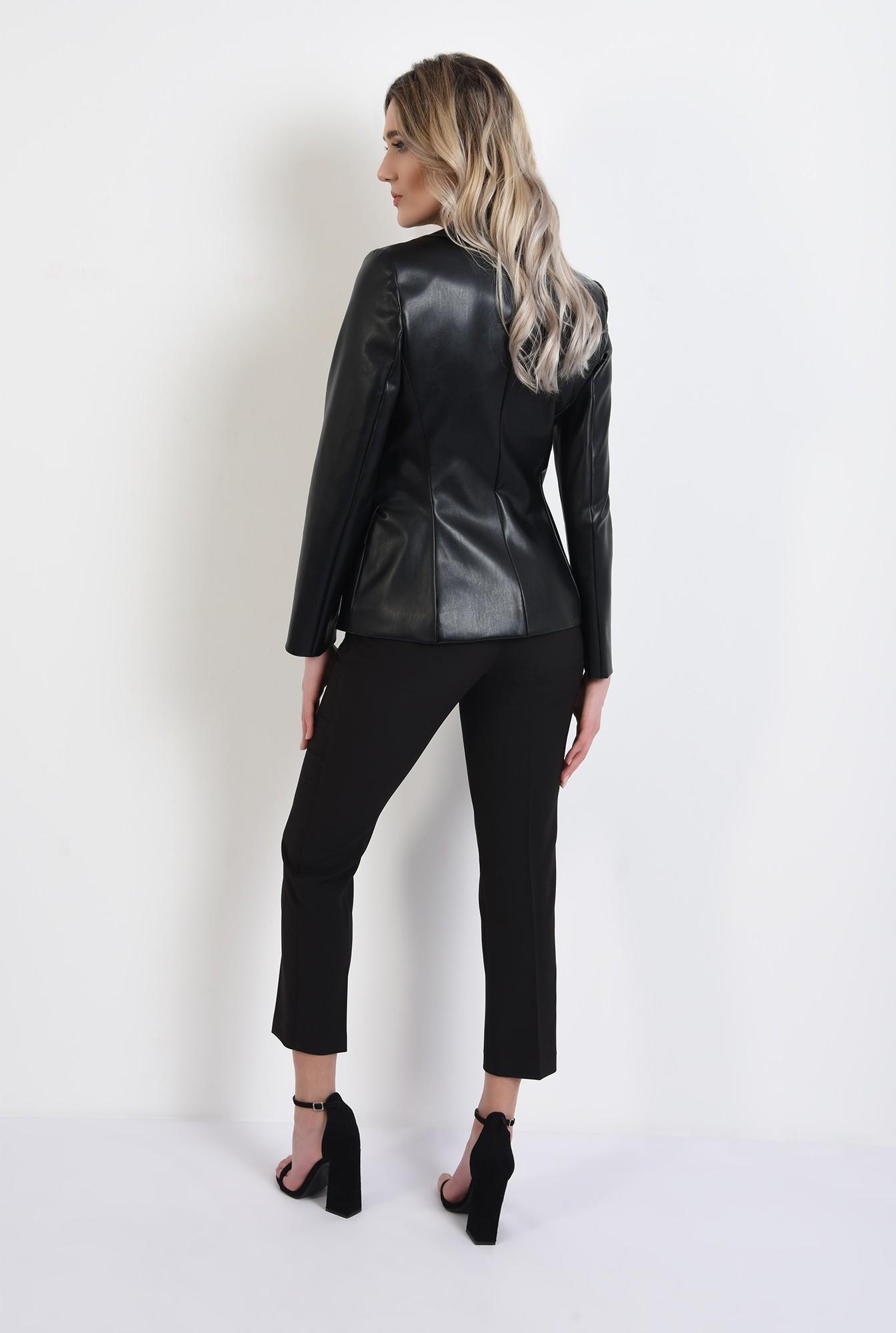 1 -  360 - jacheta casual, din piele ecologica, cu clapa, cu nasturi, revere