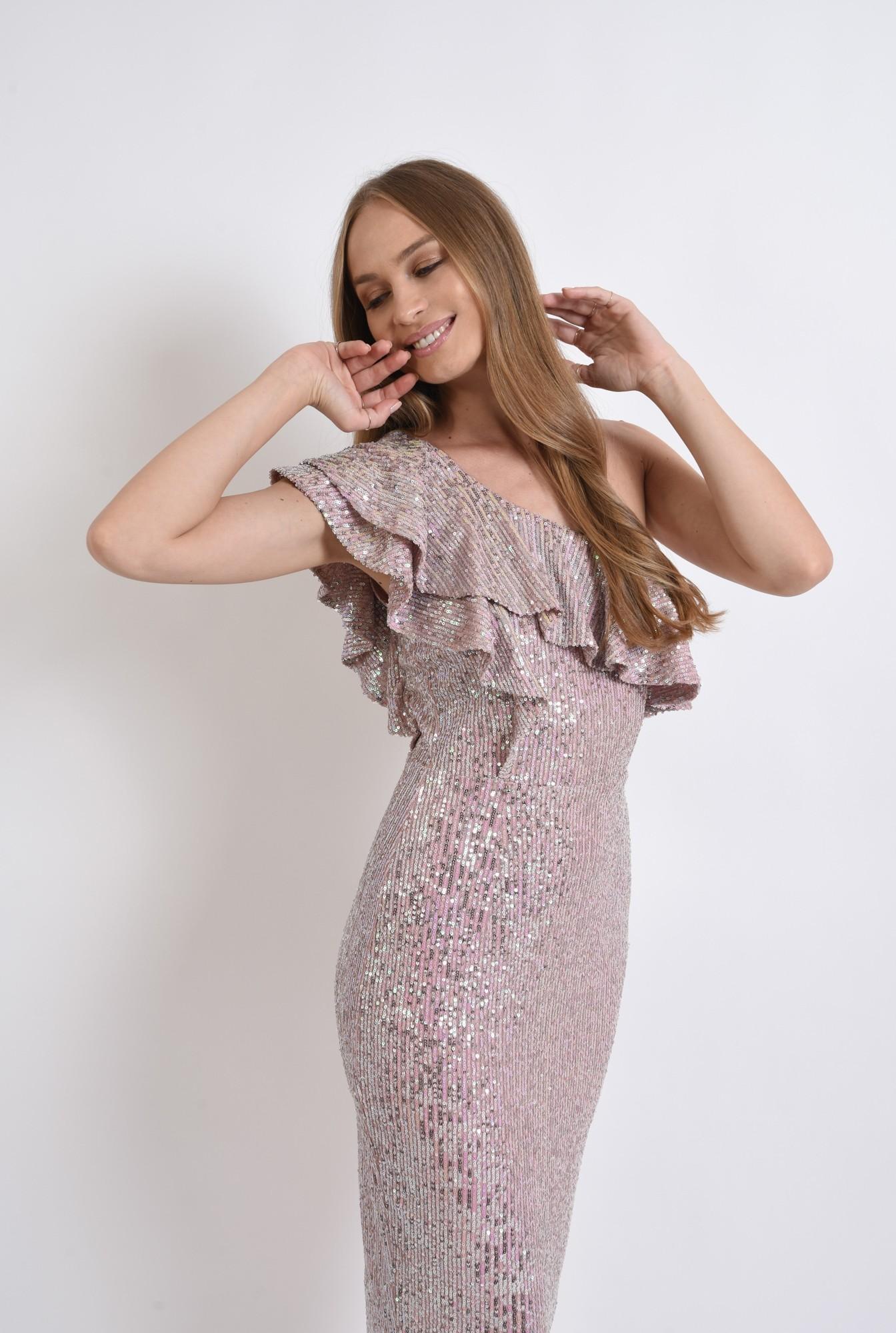 1 - rochie roz, cu paiete, conica, Poema