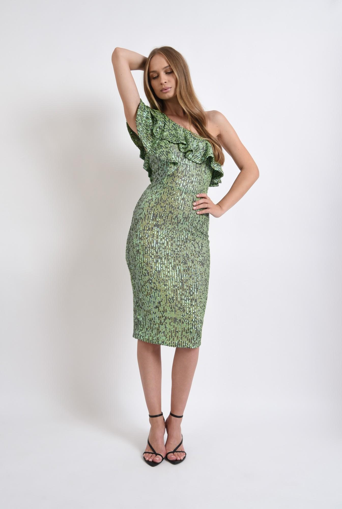 0 - rochie verde, midi, cu paiete