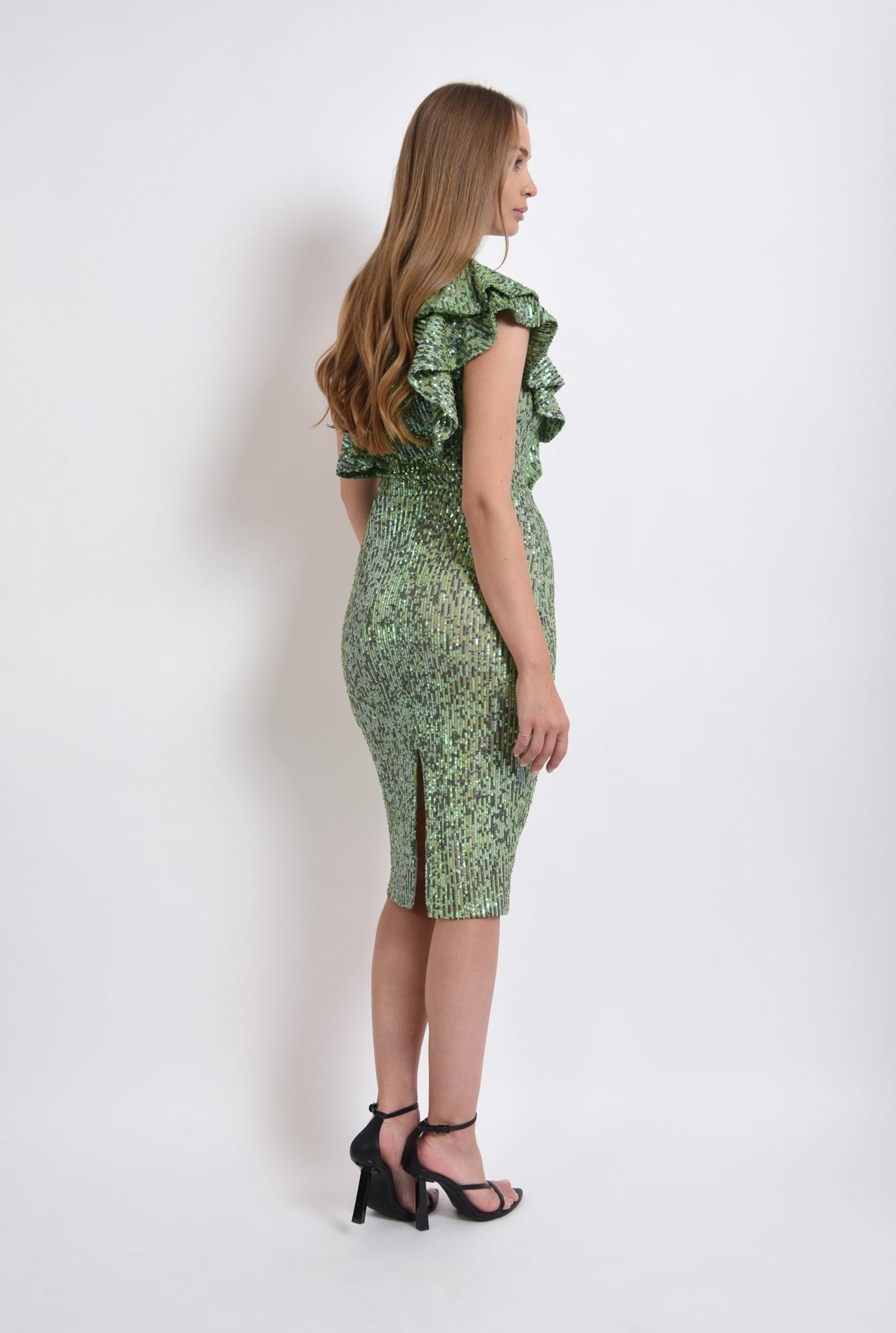 1 - rochie verde, midi, cu paiete
