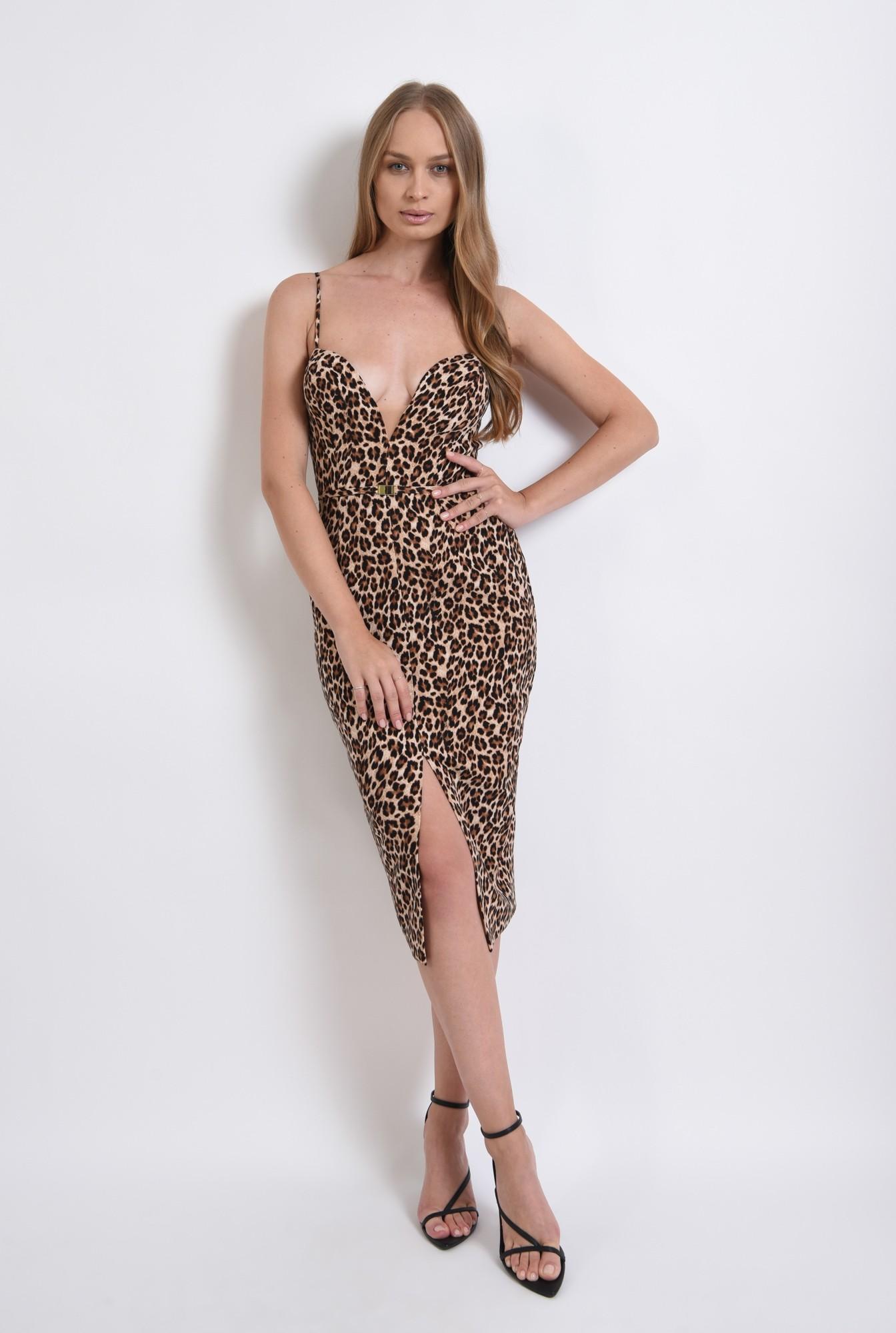 1 - rochie eleganta, animal print, cu bretele