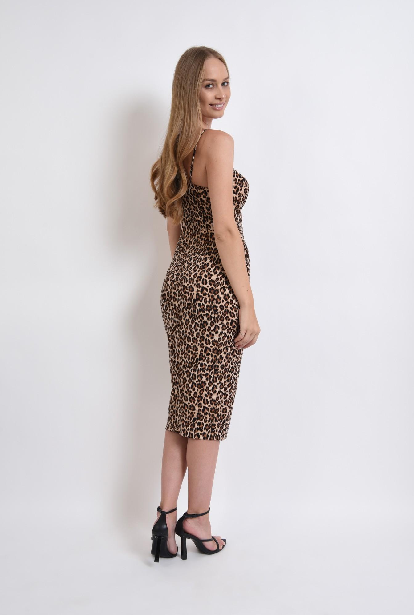 2 - rochie eleganta, animal print, cu bretele
