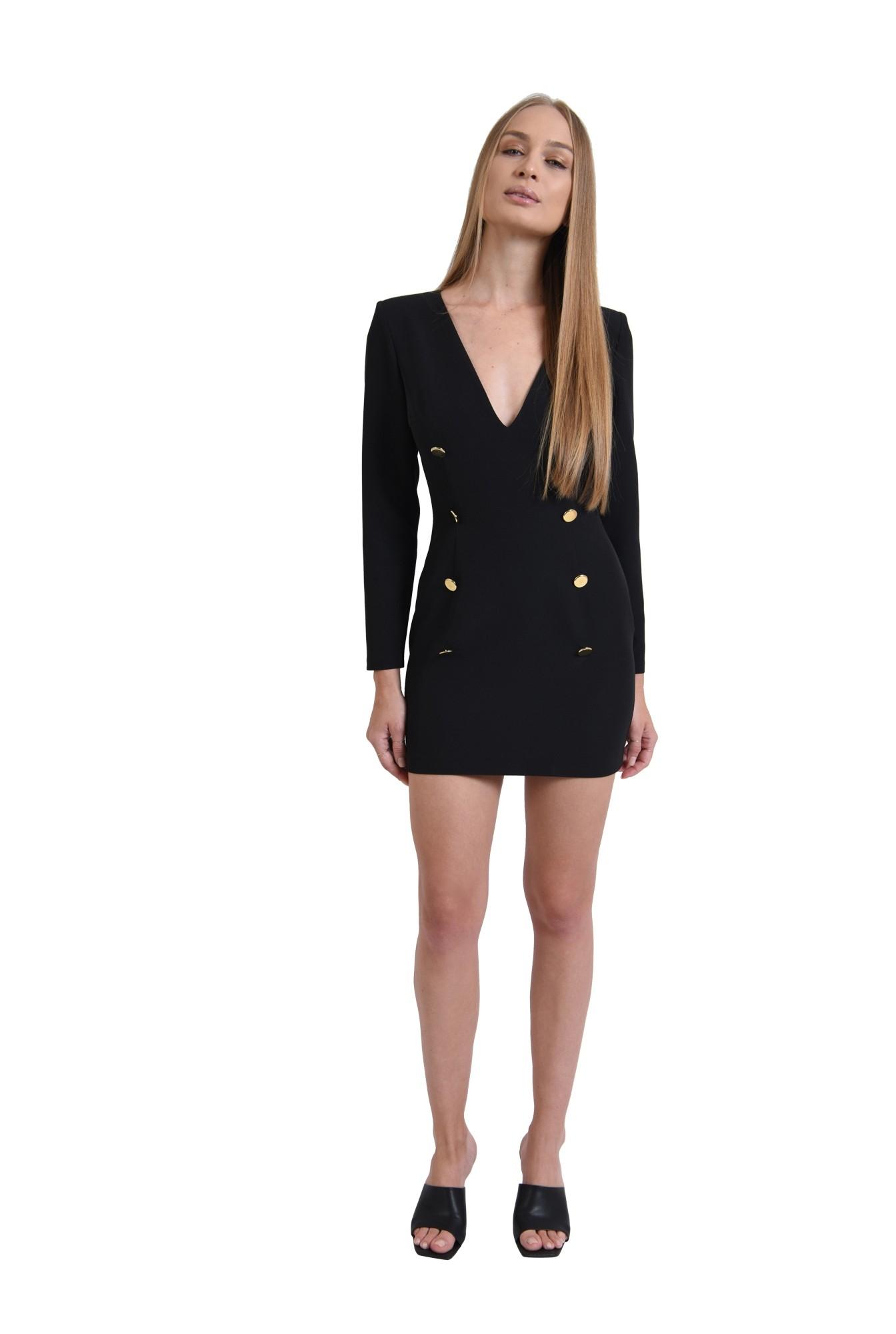 3 - rochie casual, neagra, cu nasturi multipli