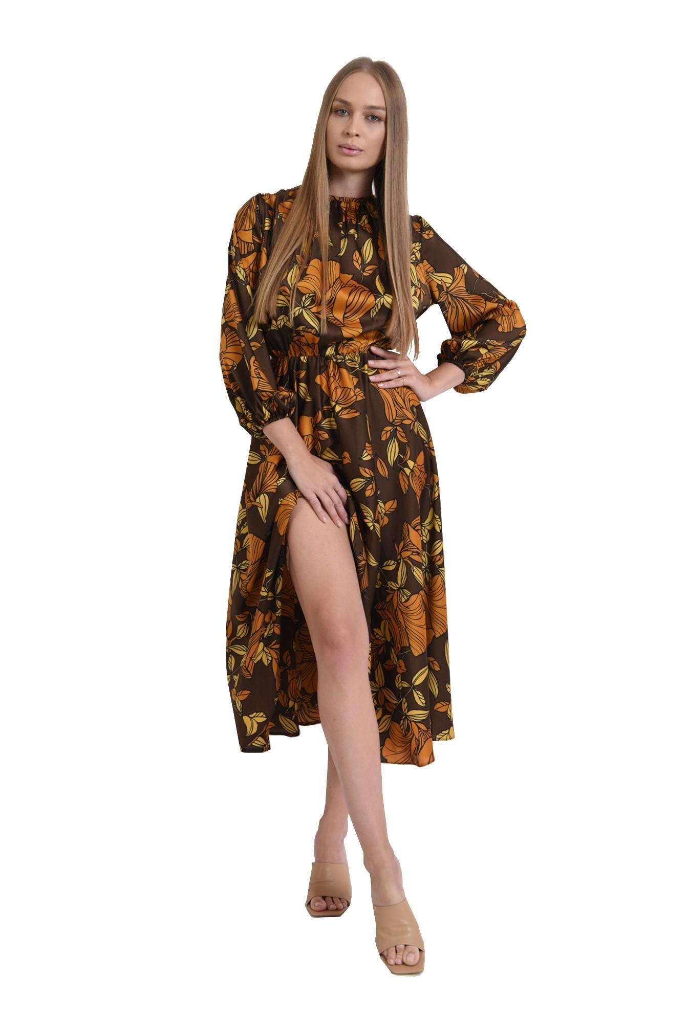 3 - rochie maro, cu motive florale