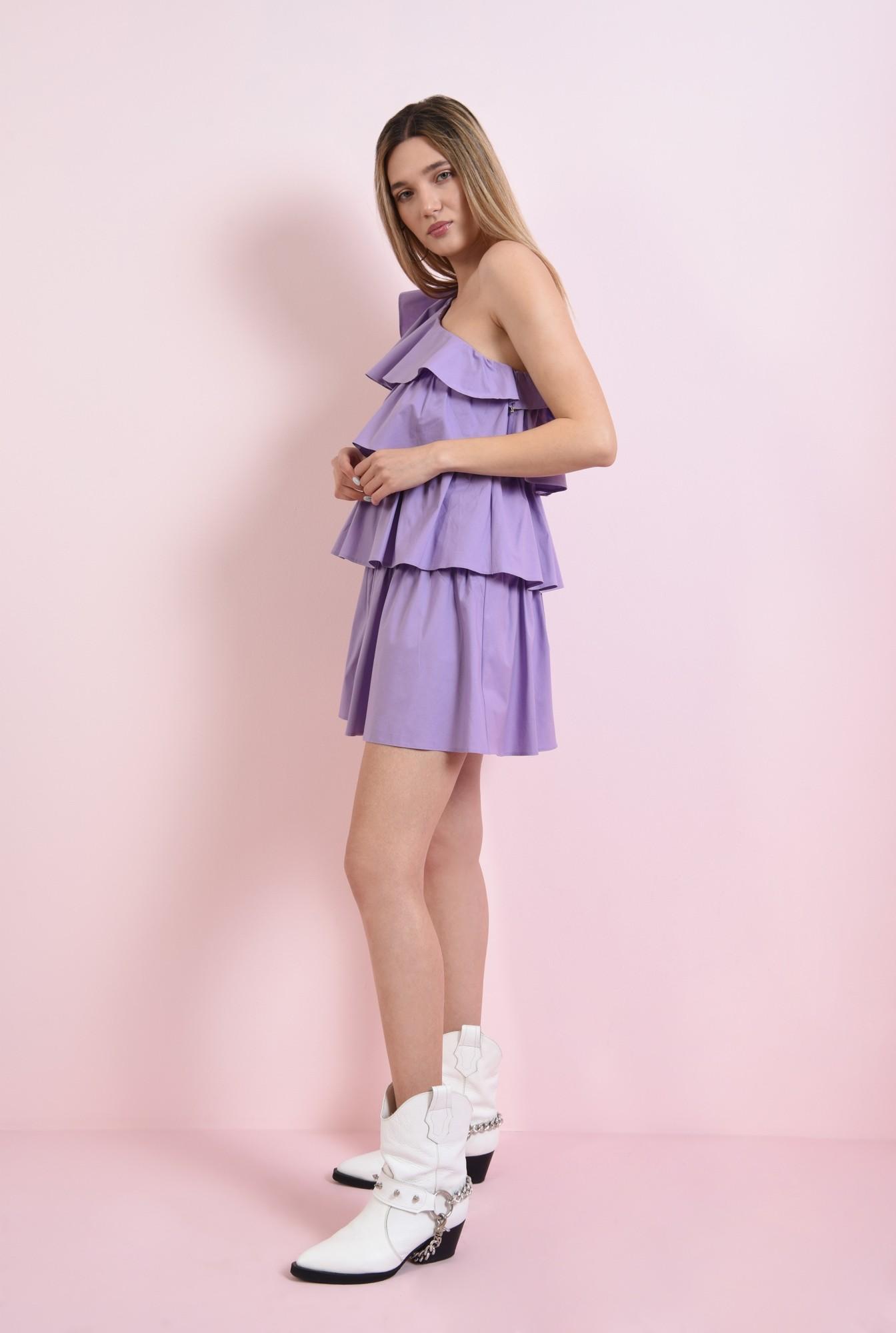 0 - rochie scurta, lila, cu volane suprapuse