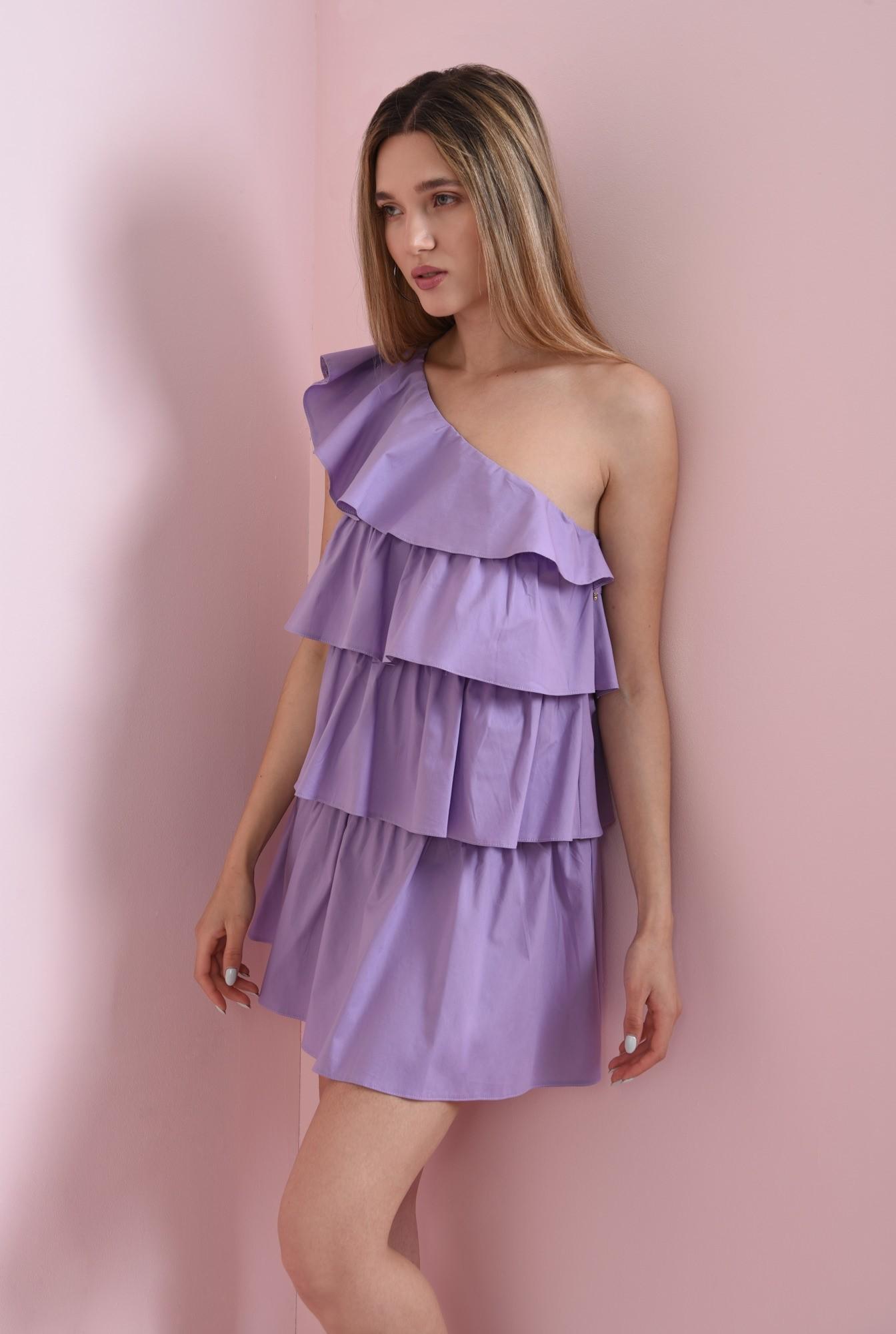 2 - rochie scurta, lila, cu volane suprapuse