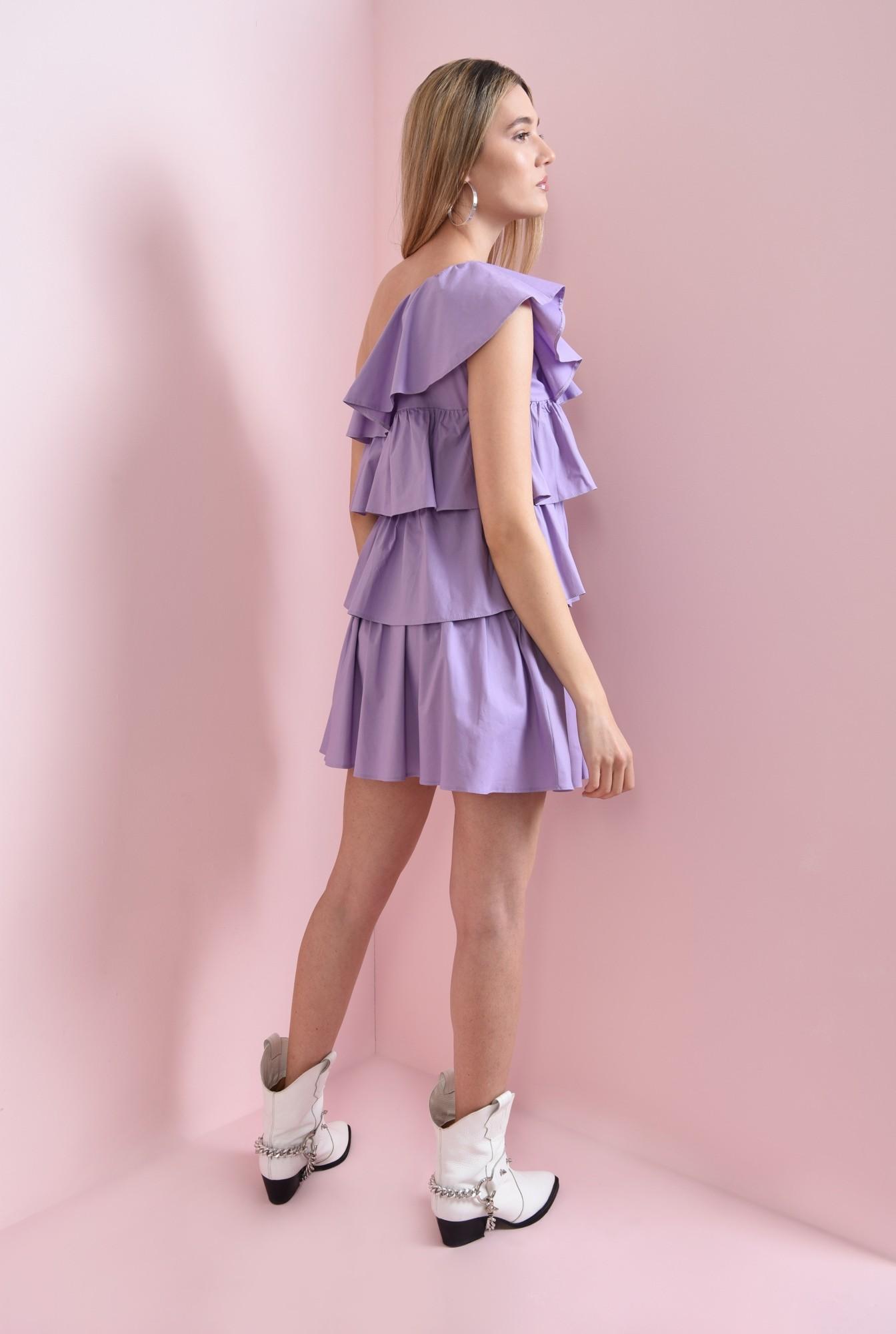 1 - rochie scurta, lila, cu volane suprapuse
