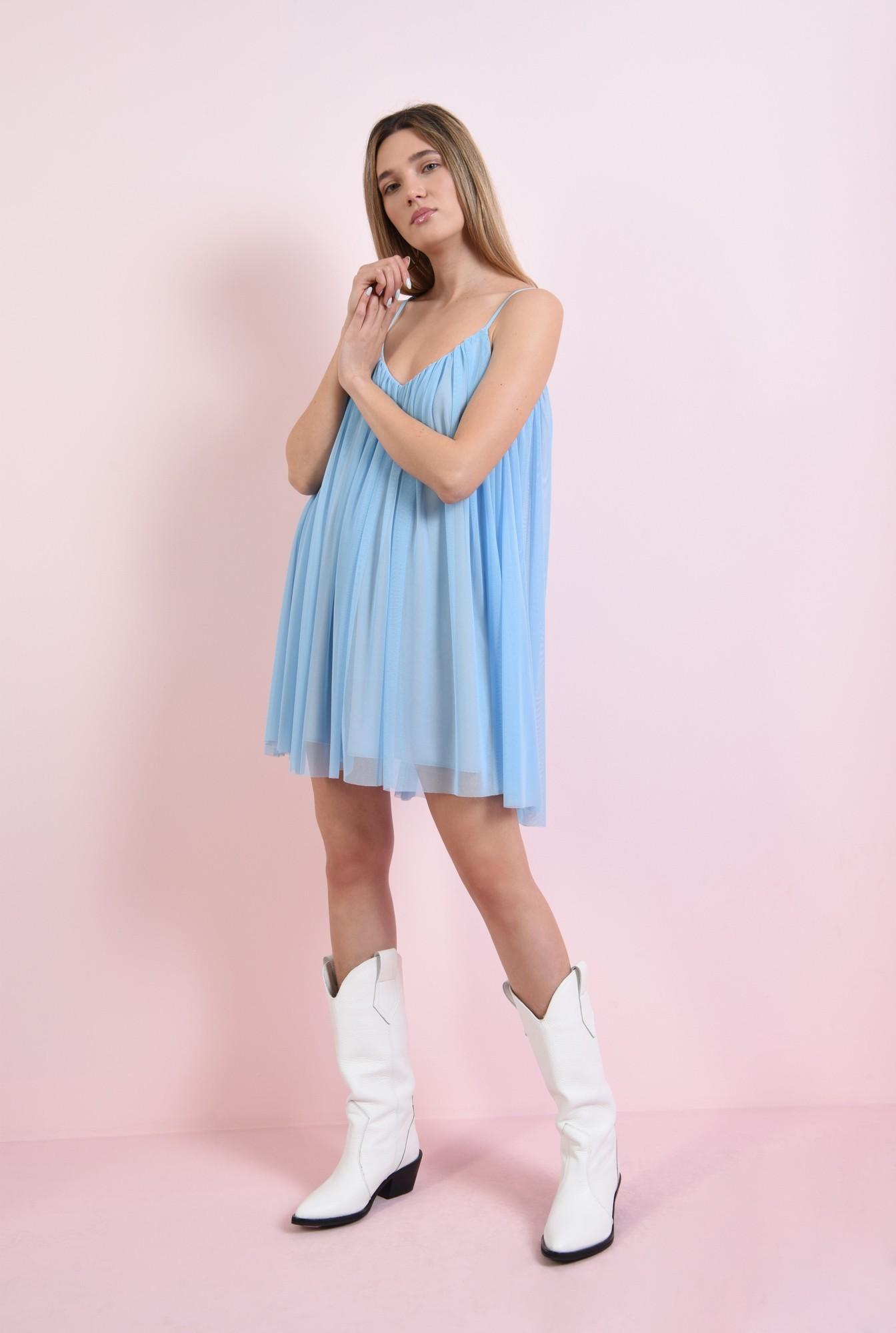 0 - rochie scurta, bleu, din tul