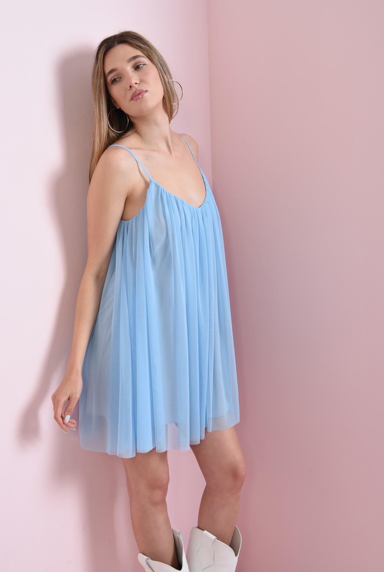 2 - rochie scurta, bleu, din tul