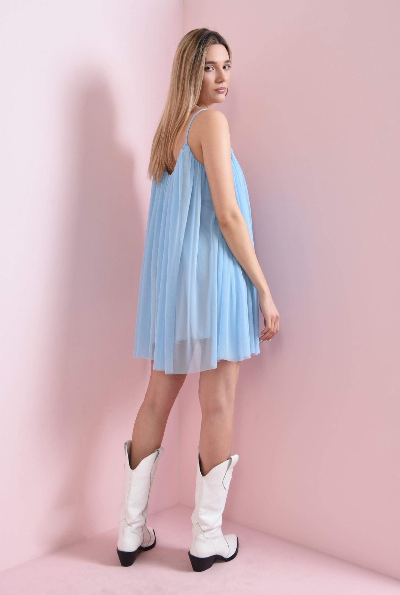 1 - rochie scurta, bleu, din tul